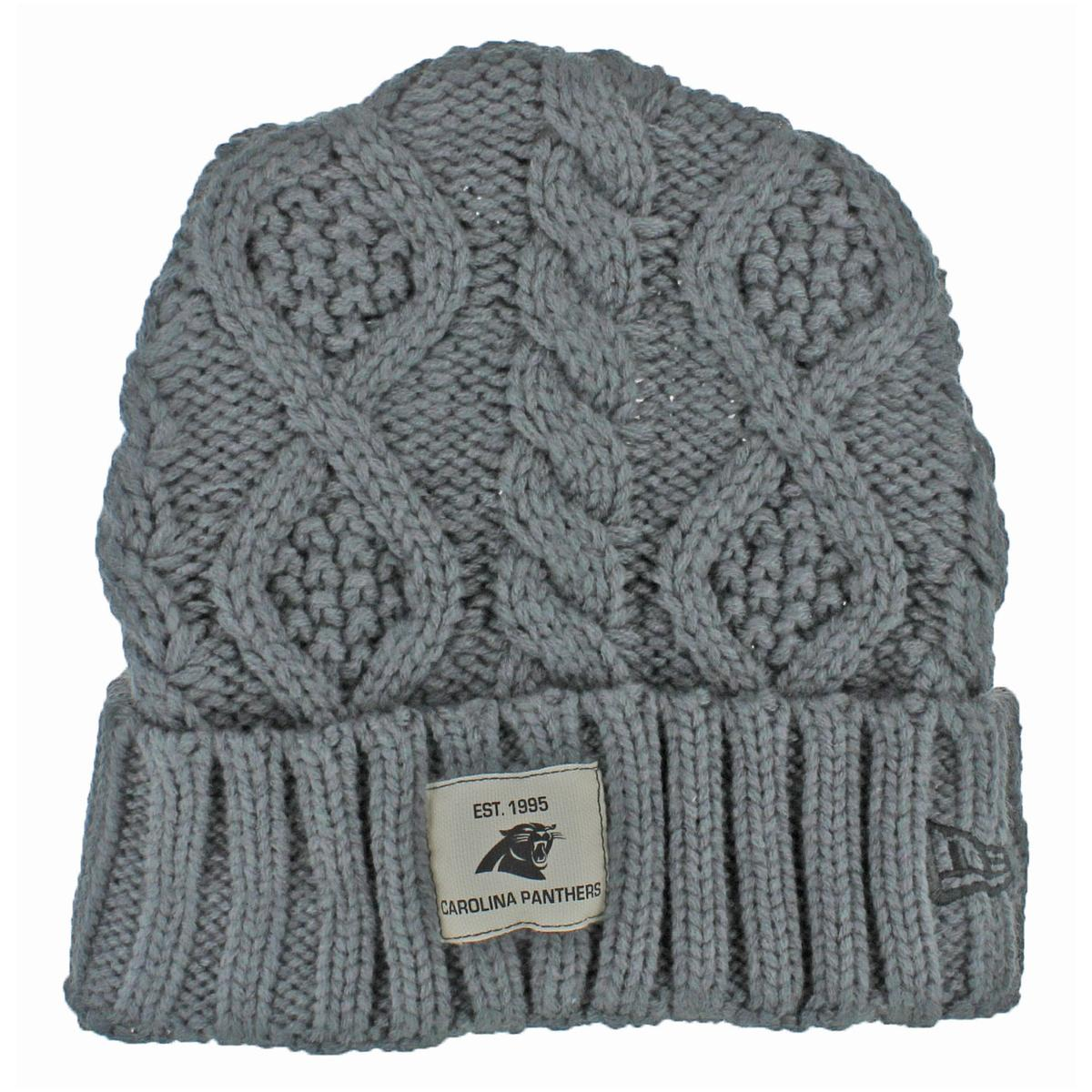Details about New Era Mens Gray Carolina Panthers Cable Knit Cuffed Beanie  Hat O S BHFO 6239 a2c43dd5a