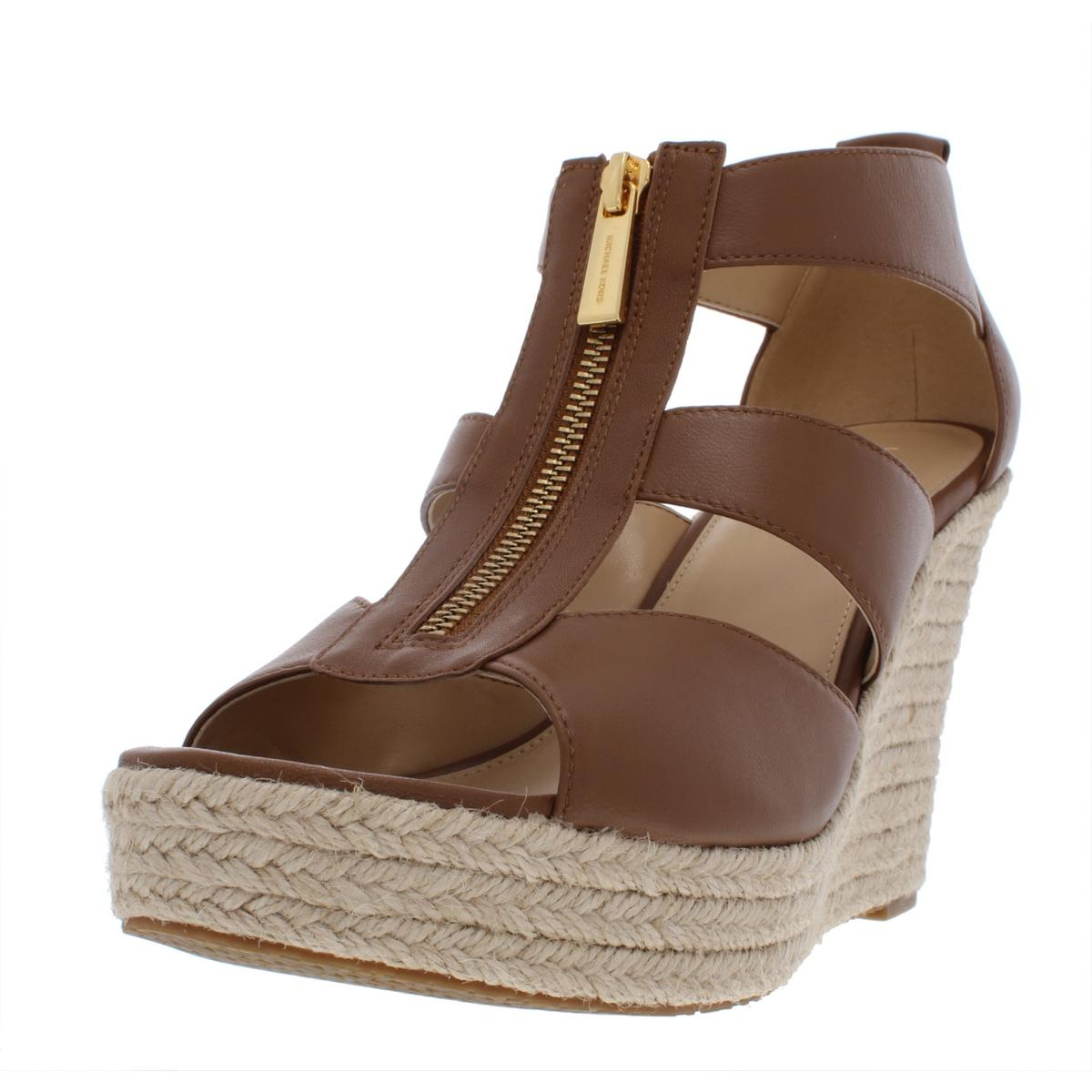9a00f64f4e1 Details about MICHAEL Michael Kors Womens Damita Leather Wedge Sandals Shoes  BHFO 8872