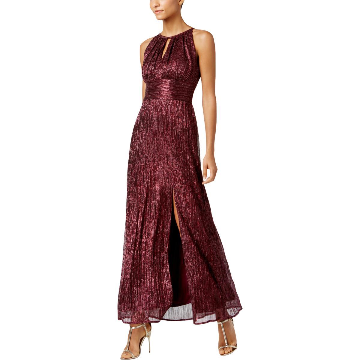 92f950e0e2 Details about R   M Richards Womens Red Halter Metallic Party Evening Dress  4 BHFO 0087
