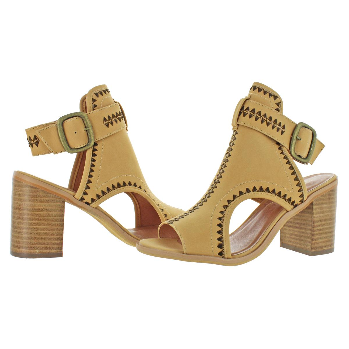 Very Volatile Women/'s Odette Faux Leather Slingback Stack Heeled Sandals Shoes