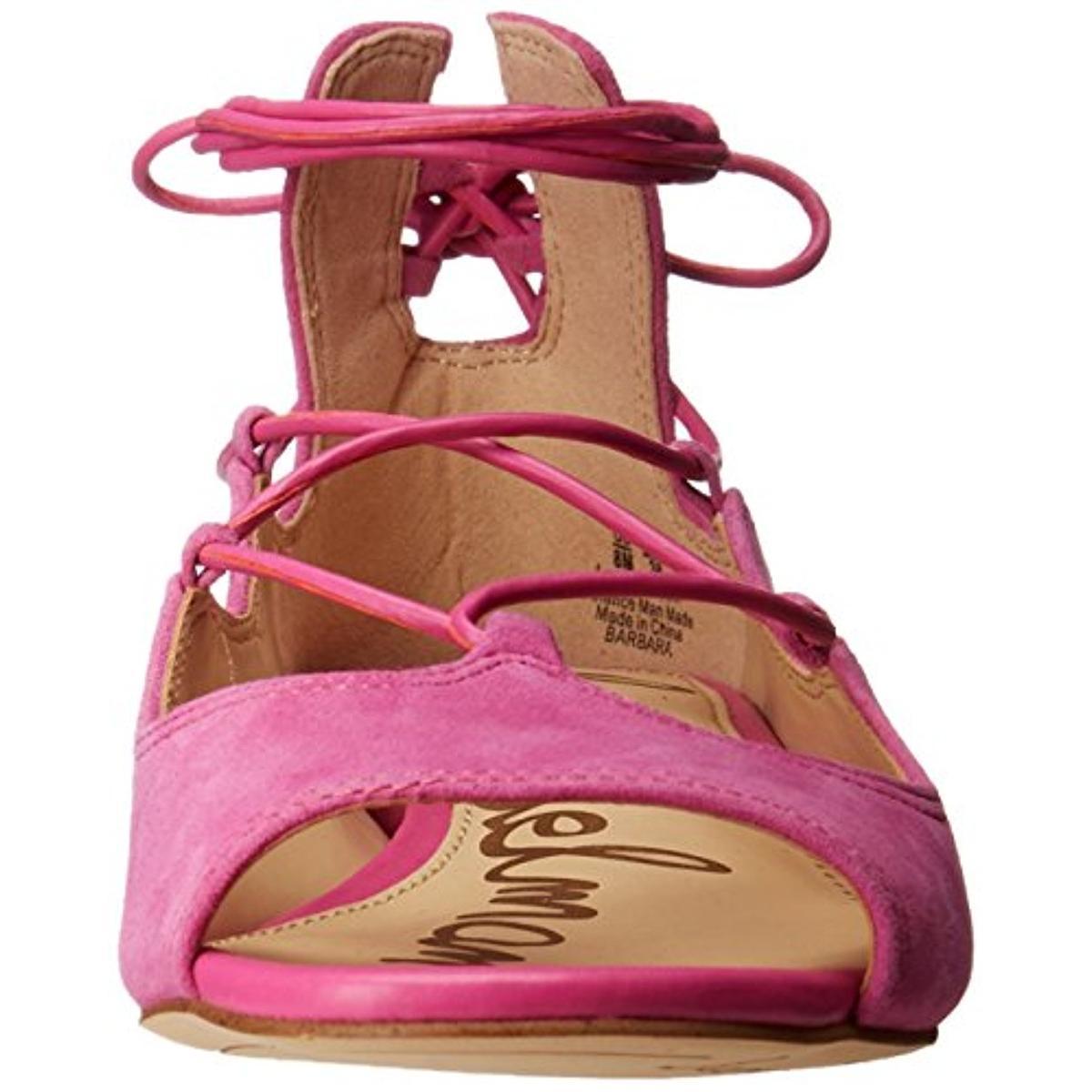 a19cb5c95011 Sam Edelman Womens Barbara Suede Open Toe Ankle Wrap Flats Shoes ...