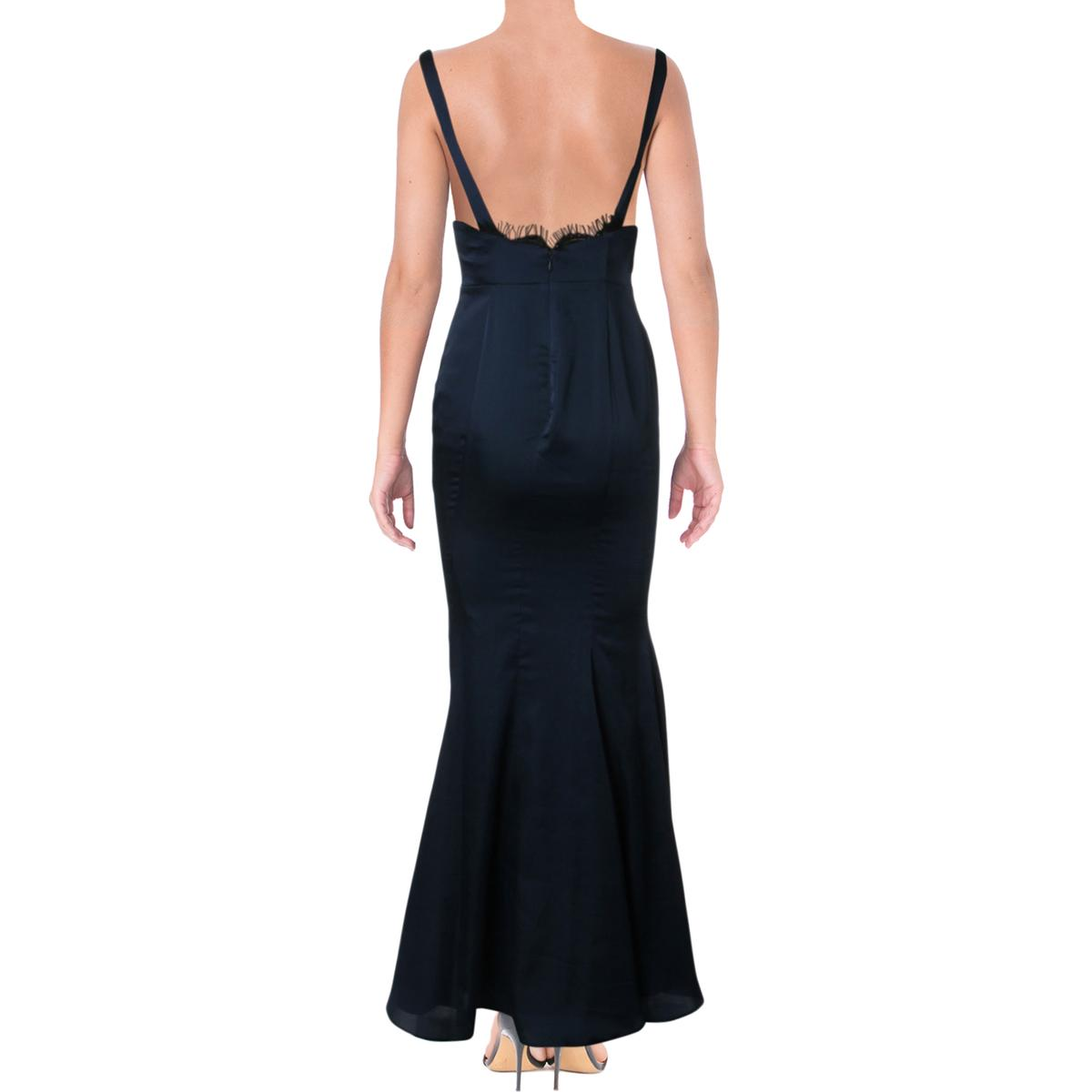 Fame and Partners Womens Lace Inset Open Back Evening Dress