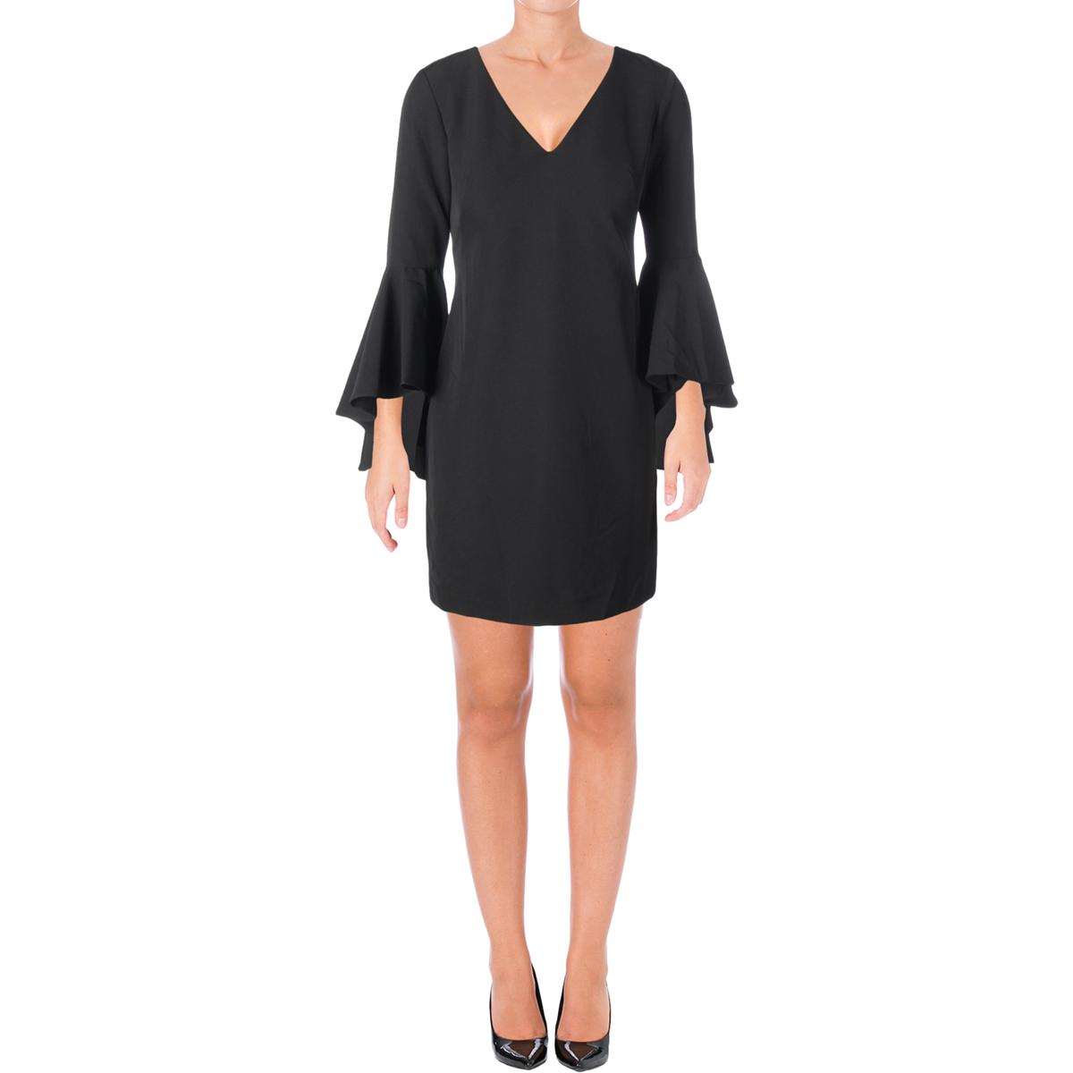6d9bda76d0 Betsy   Adam Womens Black Bell Sleeves Knee-Length Cocktail Dress 6 BHFO  4580