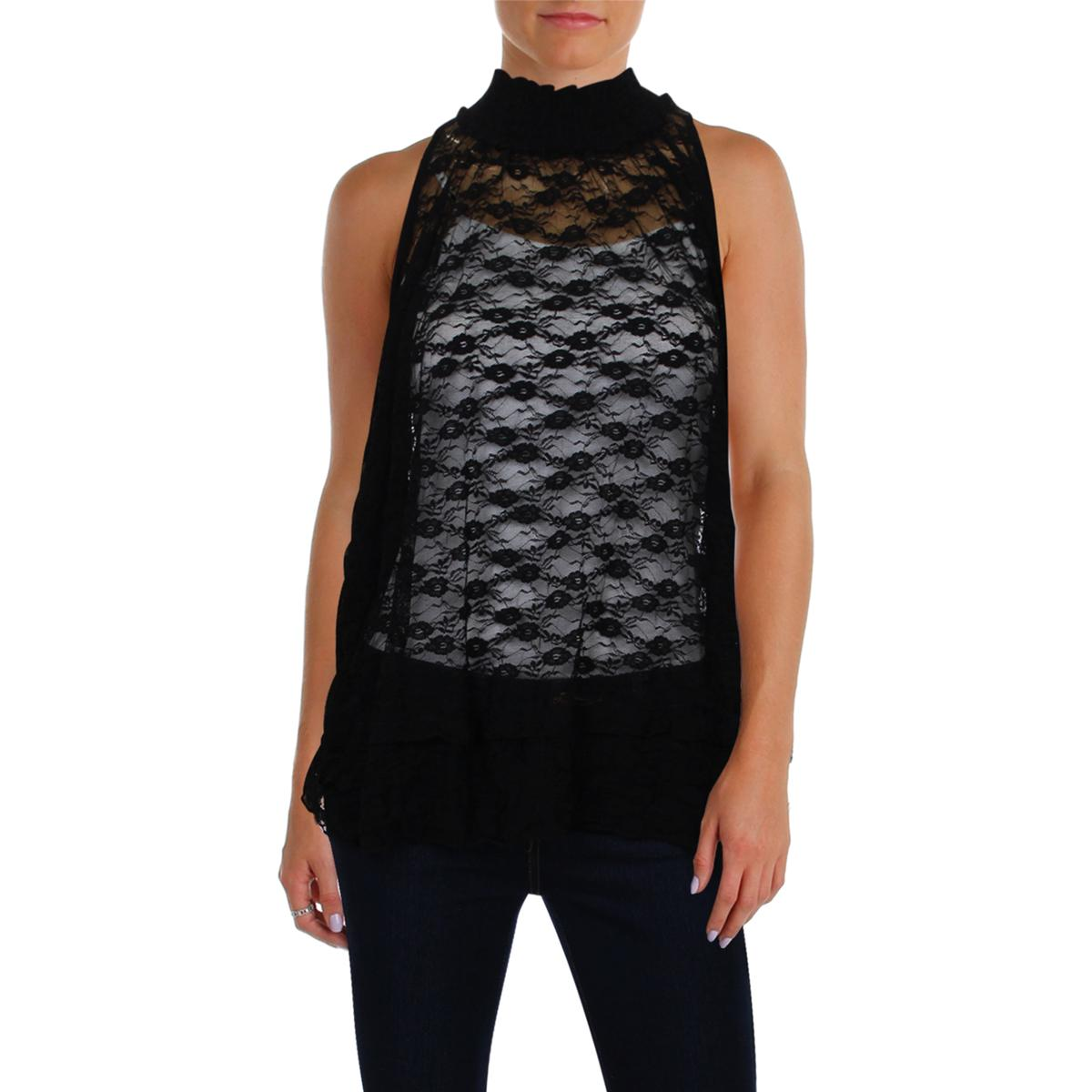 d3b6eb4e990b Details about Free People Womens Black Lace Sleeveless Party Turtleneck Top  Blouse S BHFO 9258