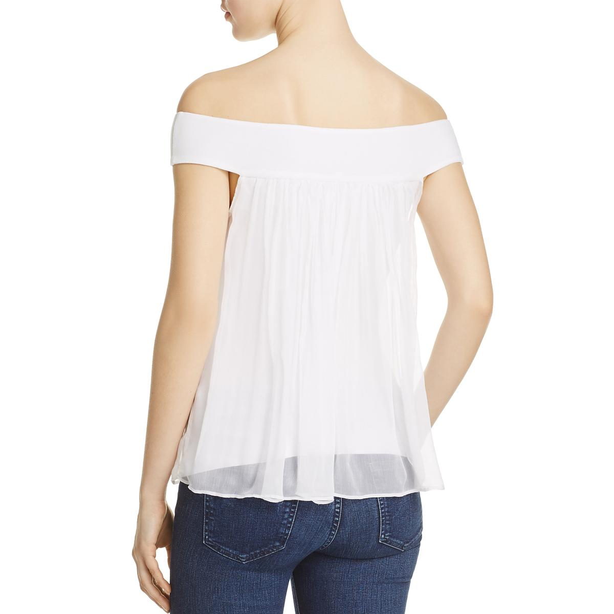 f3834d49aadf1 Bailey 44 Womens Tizhit White Silk Off-The-Shoulder Blouse Top XS ...
