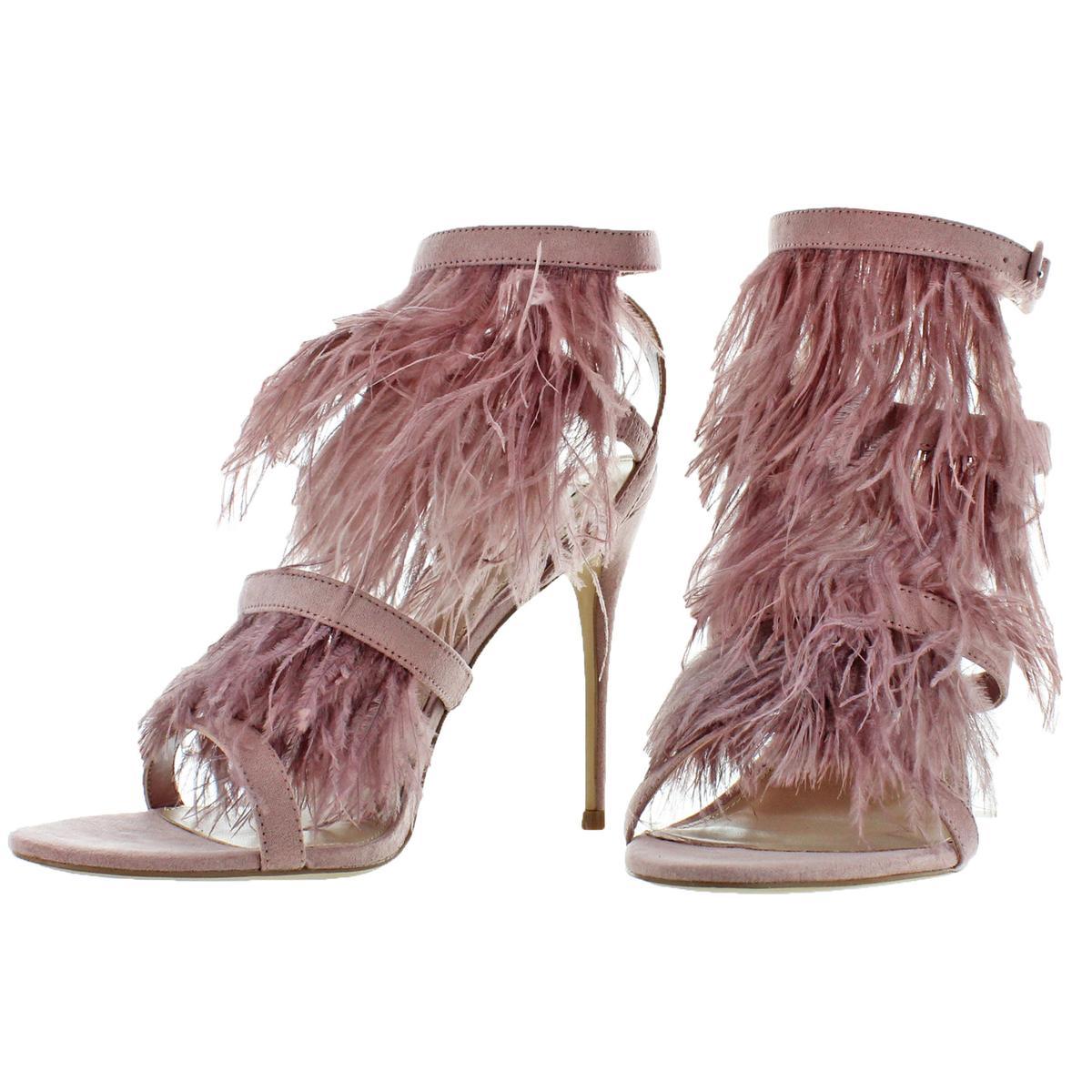 00475e4f95dd7 Steve Madden Women s Fefe Microsuede Feather Open Toe Sandal Heels ...