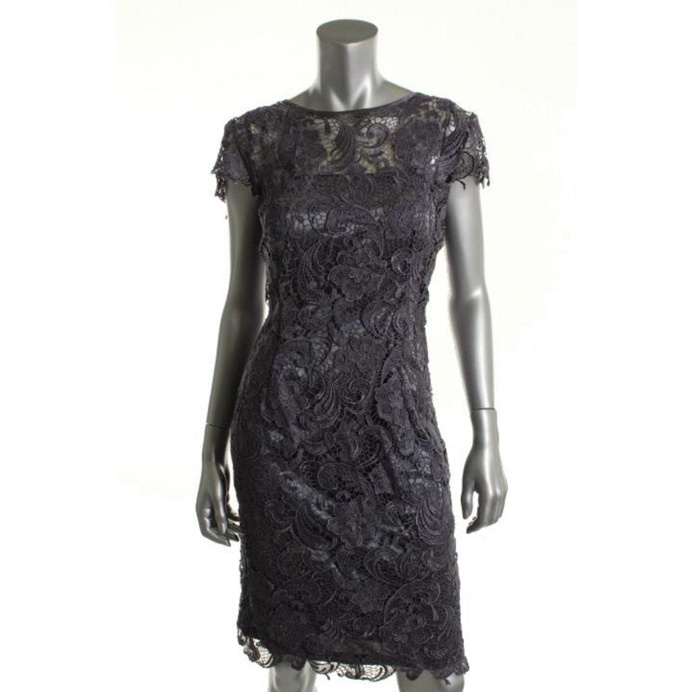Patra Gray Lace Padded Bust Cocktail Dress 12 BHFO   eBay