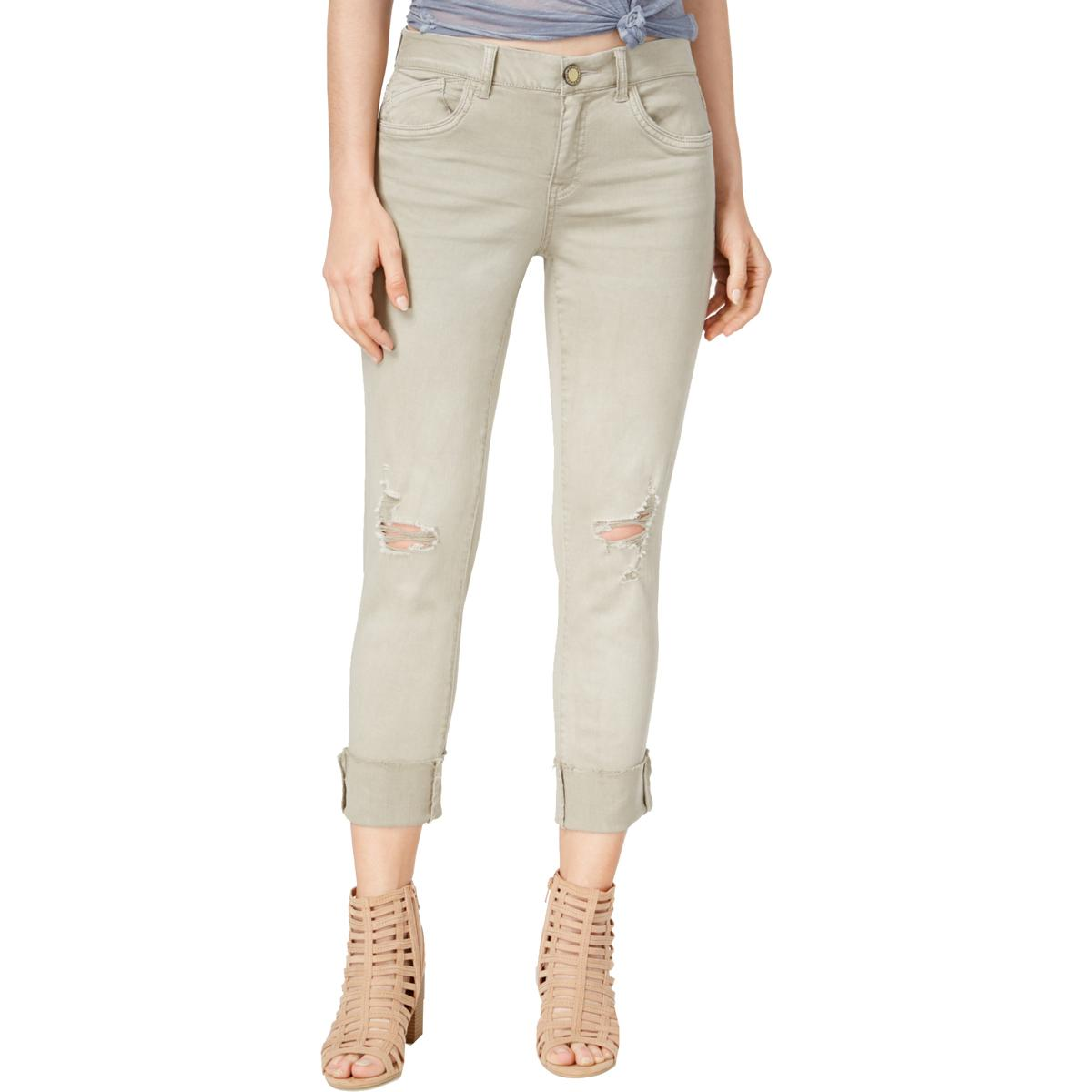 70ecdfff74c Details about Jolt Womens Beige Ripped Mid-Rise Casual Skinny Jeans Juniors  13 31W BHFO 5273