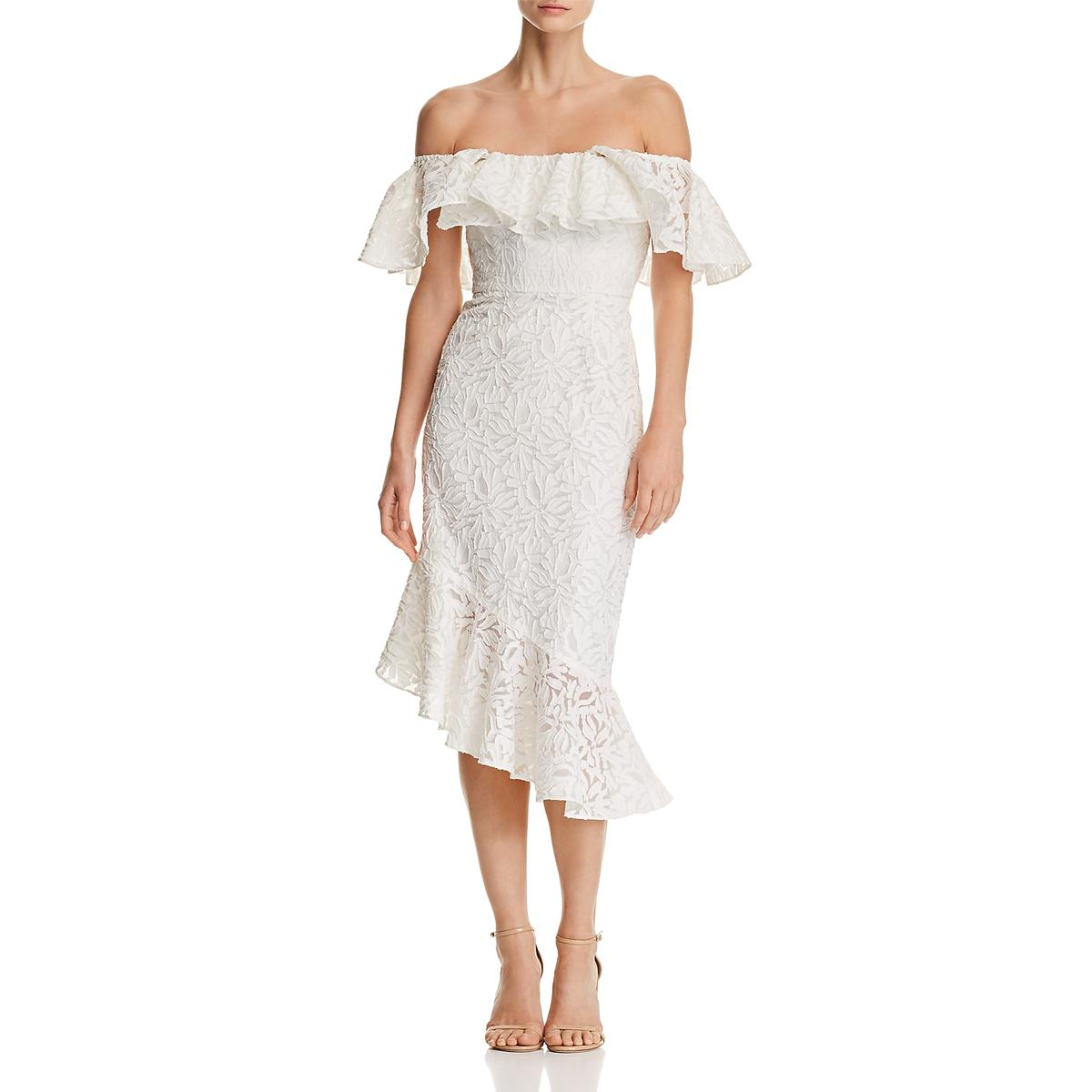 C Meo Collective damen Need You More Ivory Lace Ruffled Midi Dress L BHFO 0953