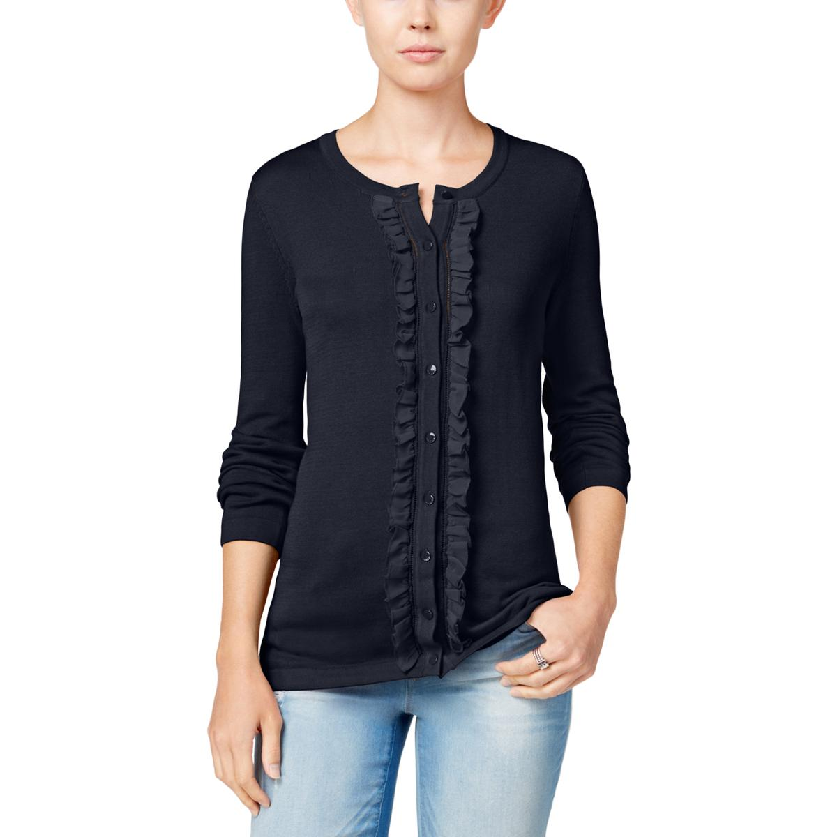 Tommy-Hilfiger-3659-Womens-Ruffled-Long-Sleeves-Cardigan-Top-Sweater-BHFO