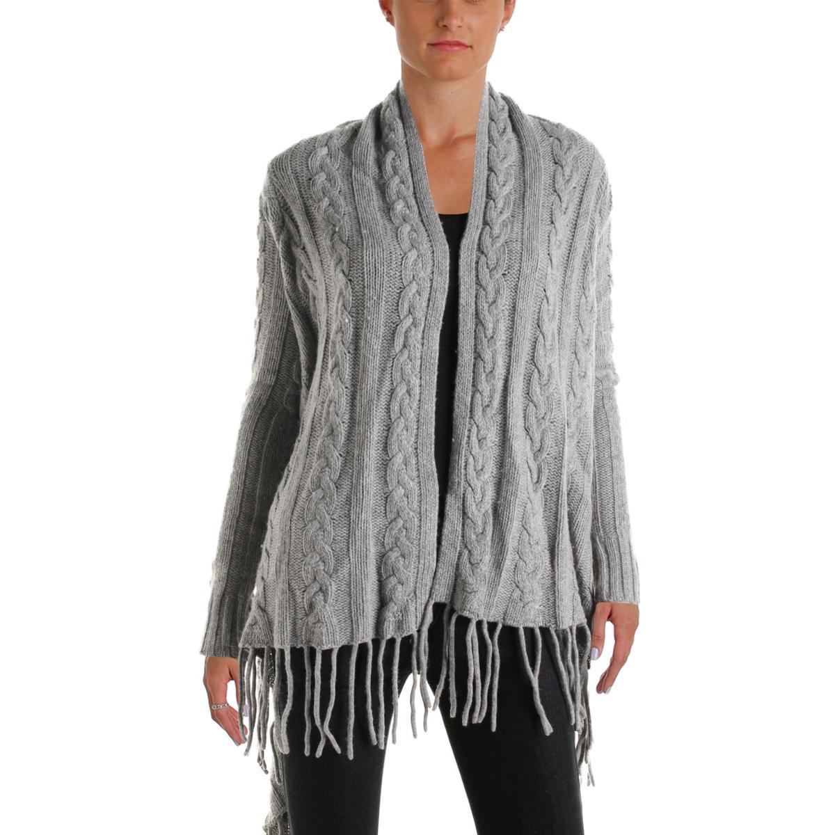The Lane 3949 Womens Wool Blend Open Front Fringe Cardigan Sweater ...
