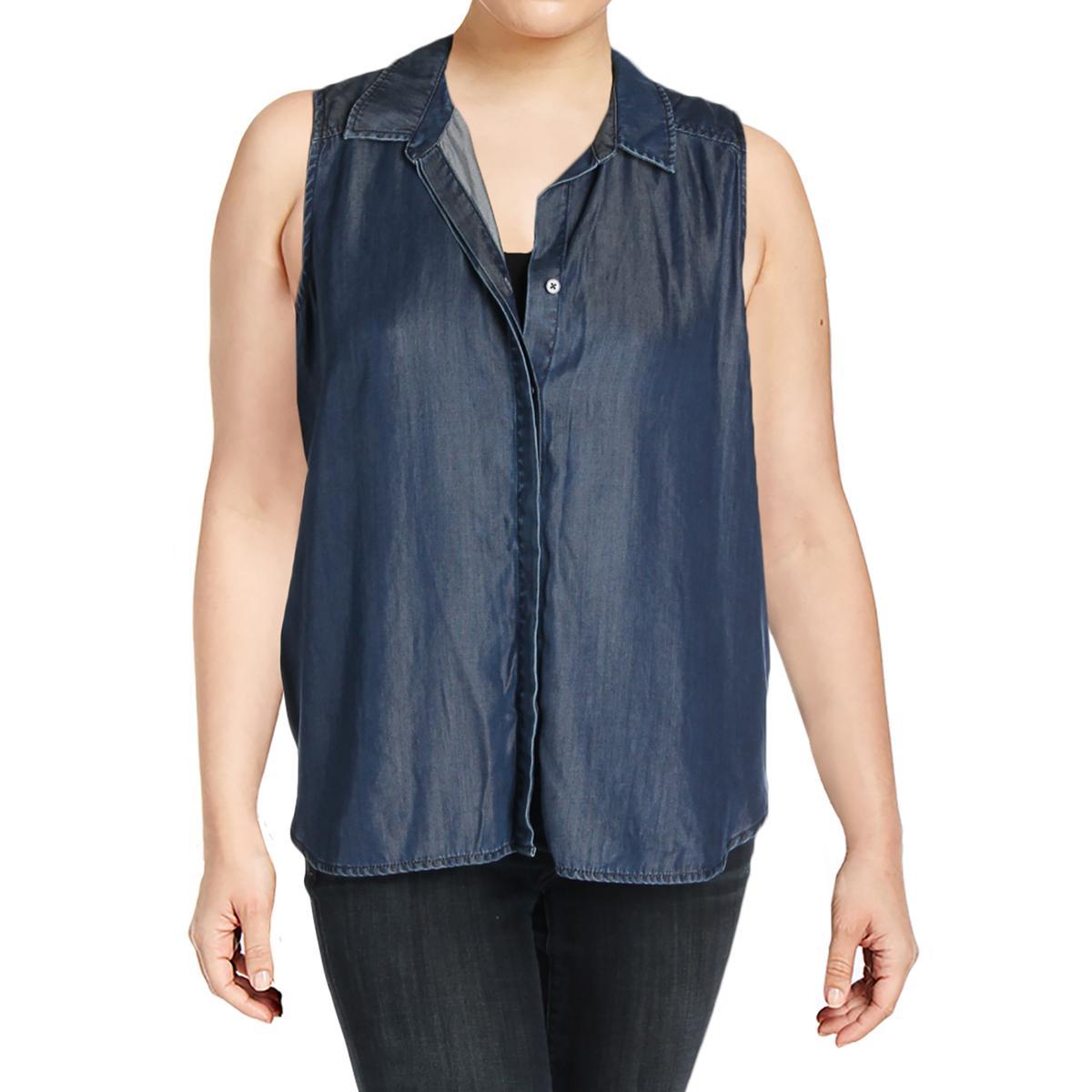 ef714e08fe3b4 Details about NYDJ Womens Vera Denim Sleeveless Blouse Button-Down Top Shirt  BHFO 2422