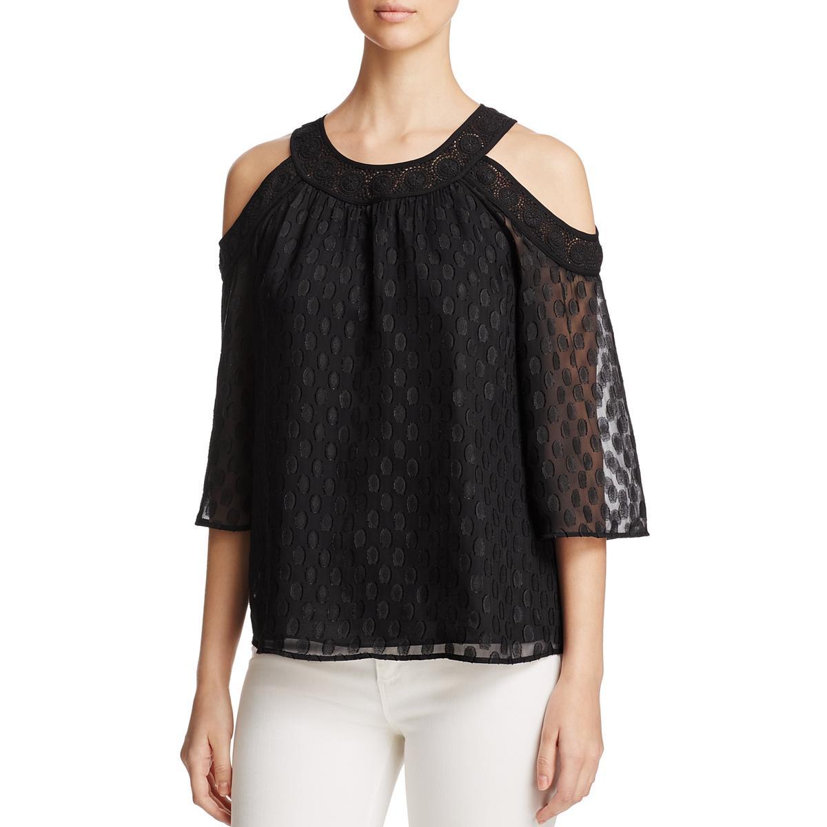 736929eca57 Details about Daniel Rainn Womens Crochet Trim Cold Shoulder Casual Top  Blouse BHFO 6679