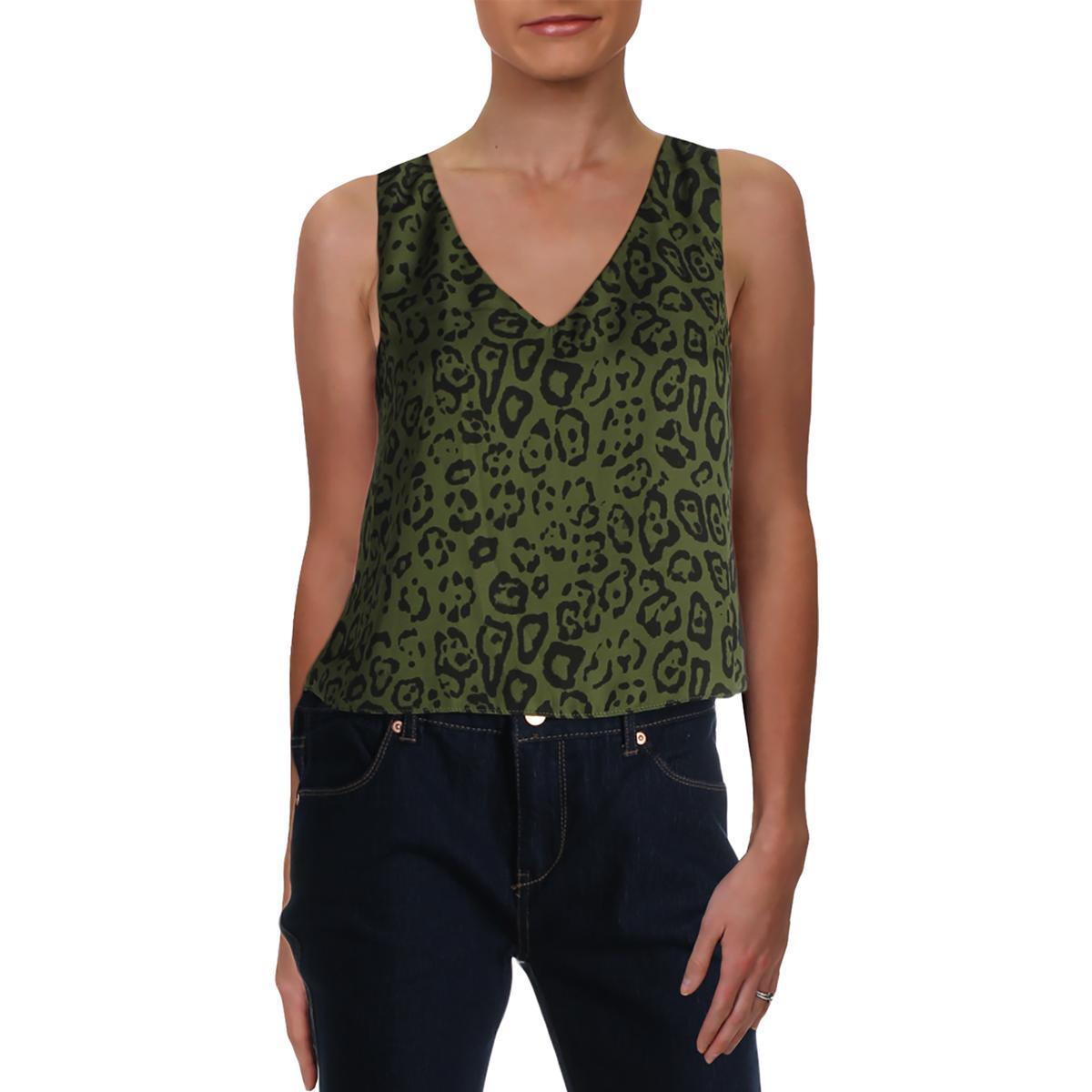 BCBGeneration Womens Green Animal Print Bell Sleeve Wrap Top Shirt XS BHFO 8736