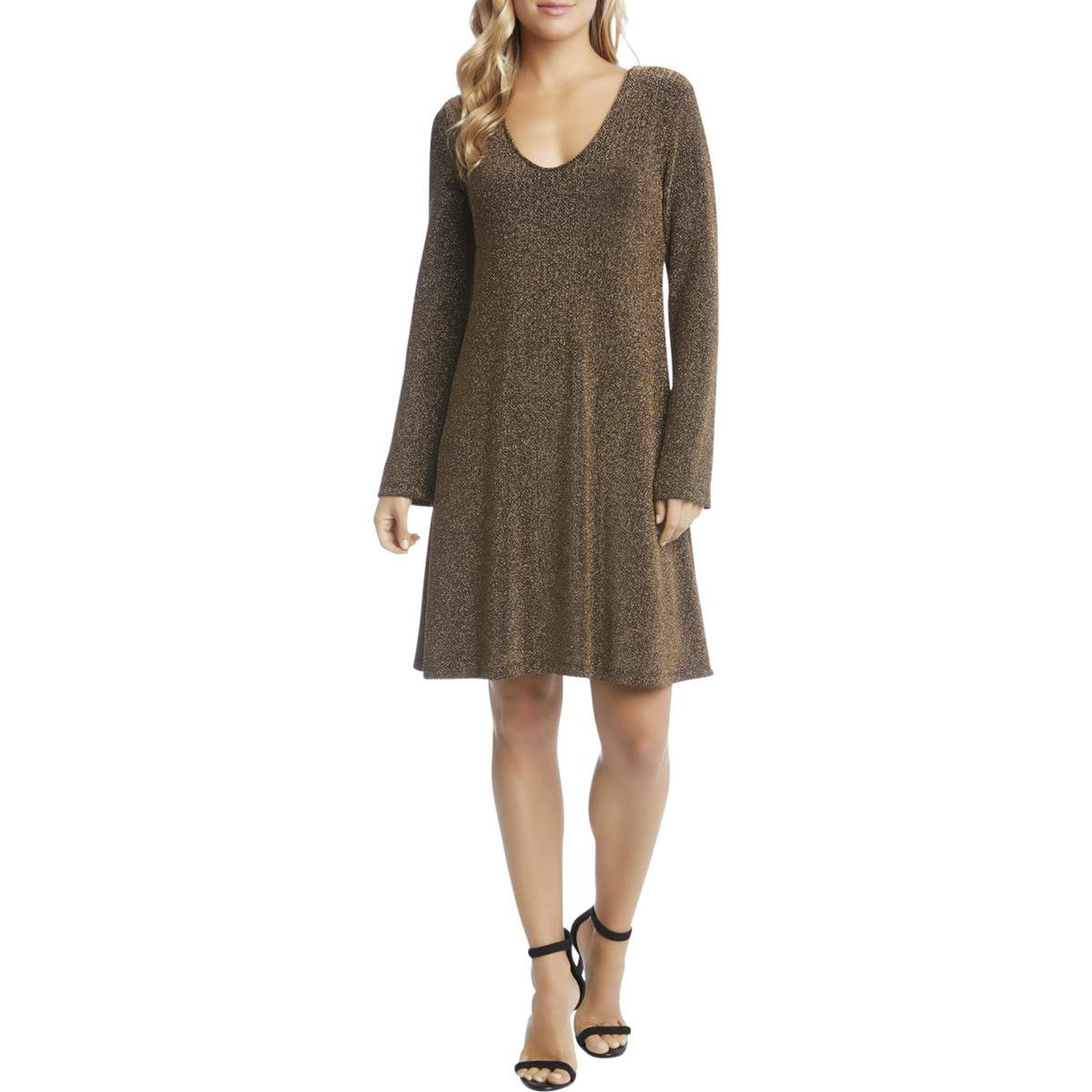957eb012ad Details about Karen Kane Womens Taylor Gold Metallic V-Neck Party Dress S  BHFO 2057