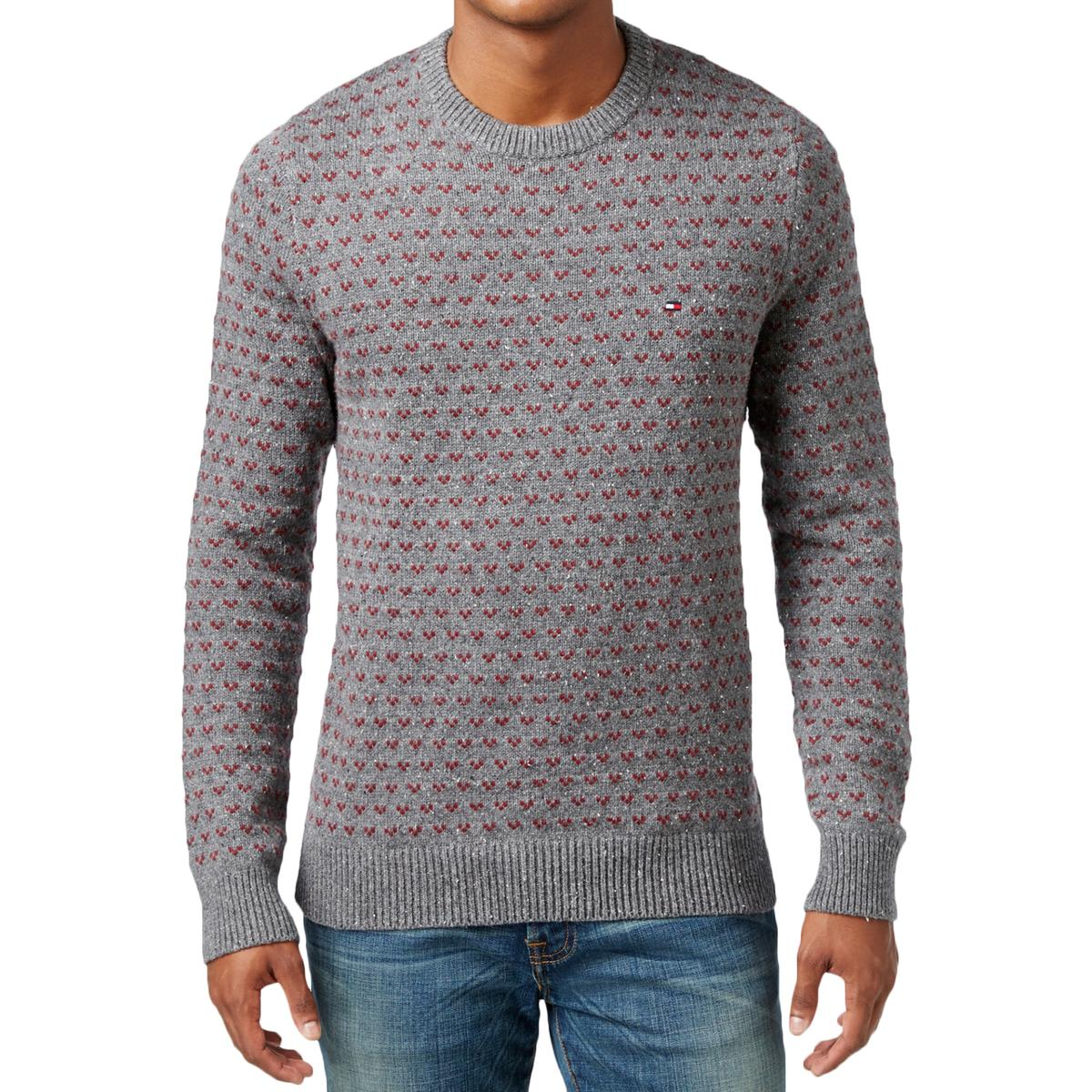 Tommy Hilfiger 7967 Mens Ribbed Trim Pattern Crew Neck Pullover ...
