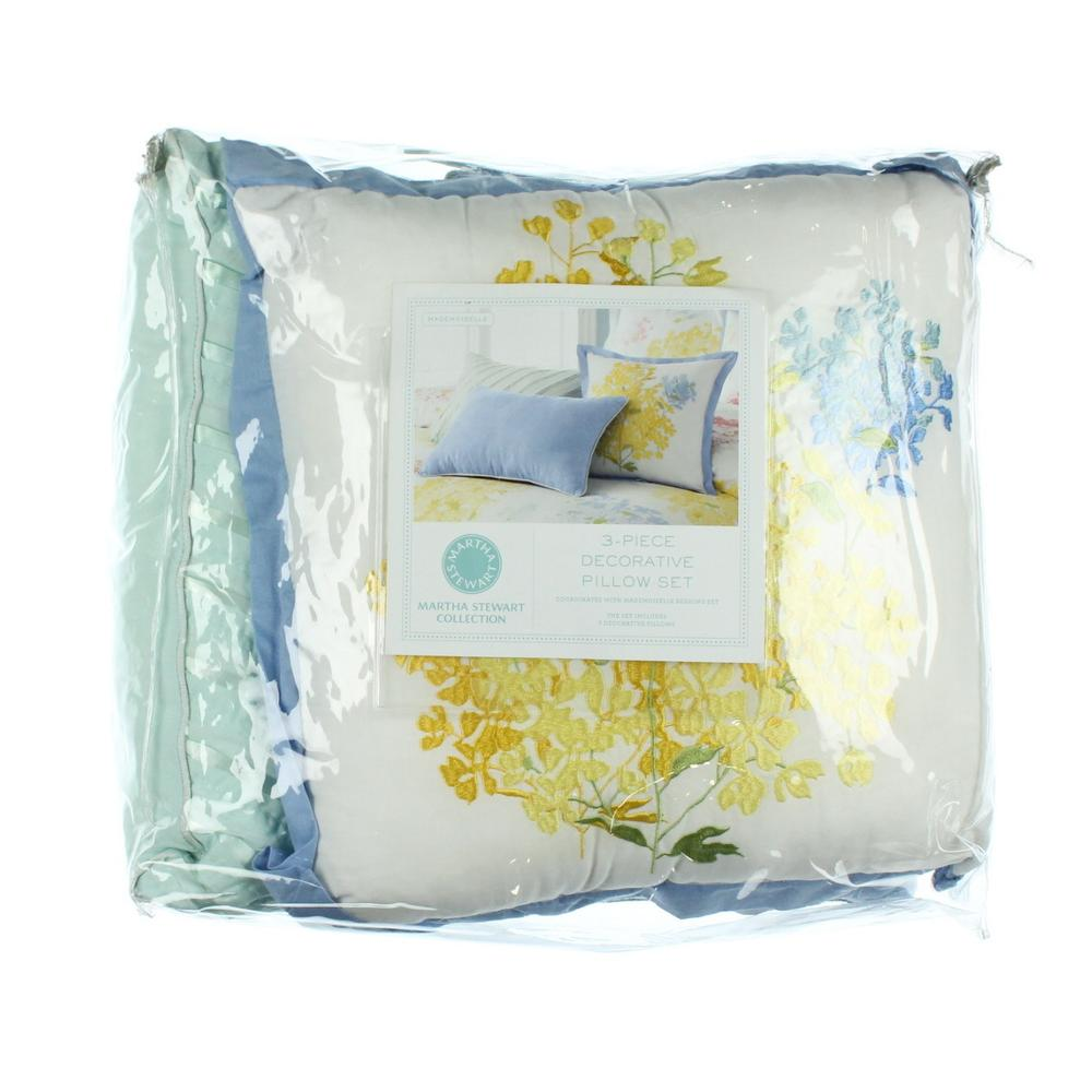 Martha Stewart Decorative Bed Pillows : Martha Stewart NEW Mademoiselle Blue Decorative Pillow Set Bedding Standard BHFO