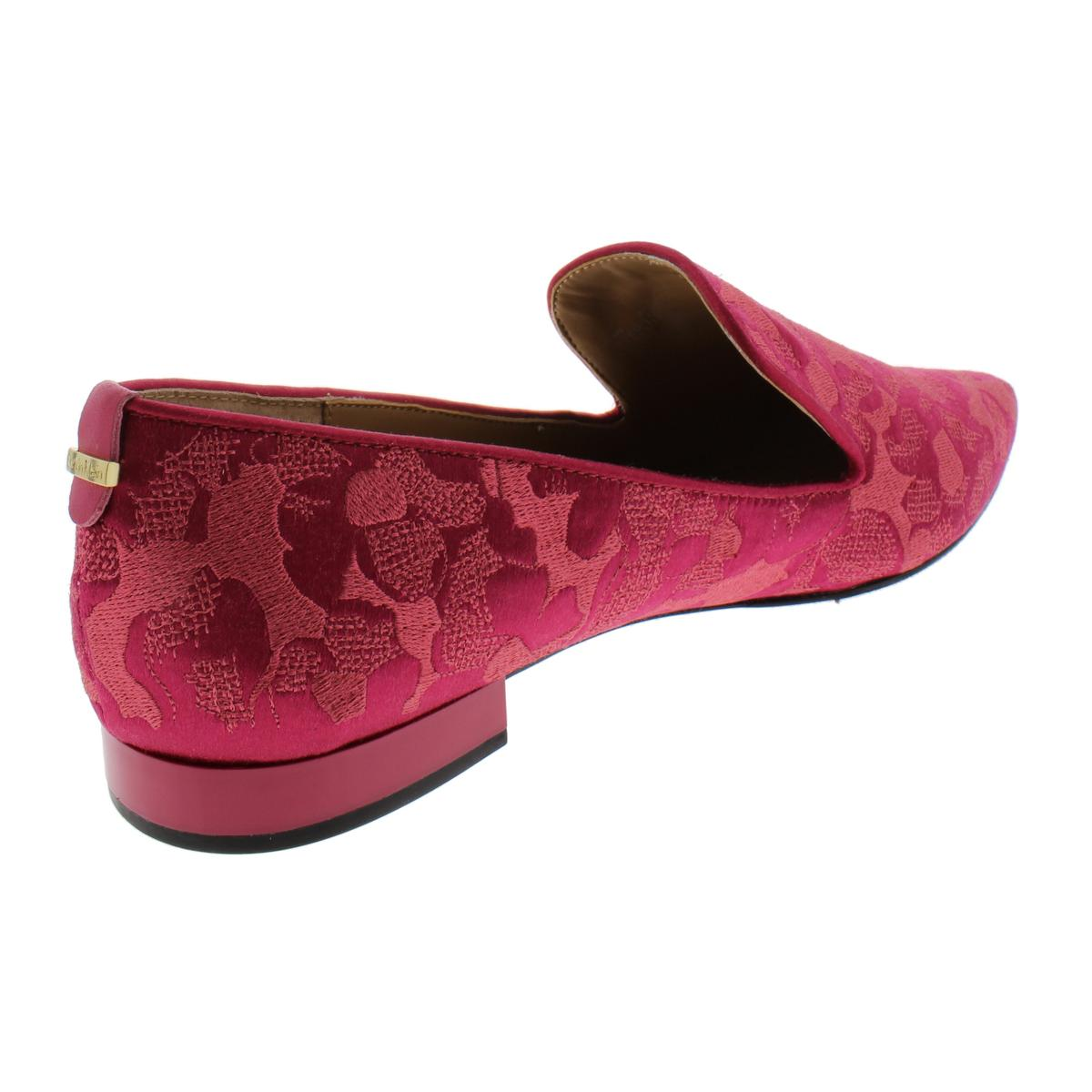 Calvin-Klein-Elin-Women-039-s-Satin-Embroidered-Floral-Print-Smoking-Loafer-Shoes thumbnail 10