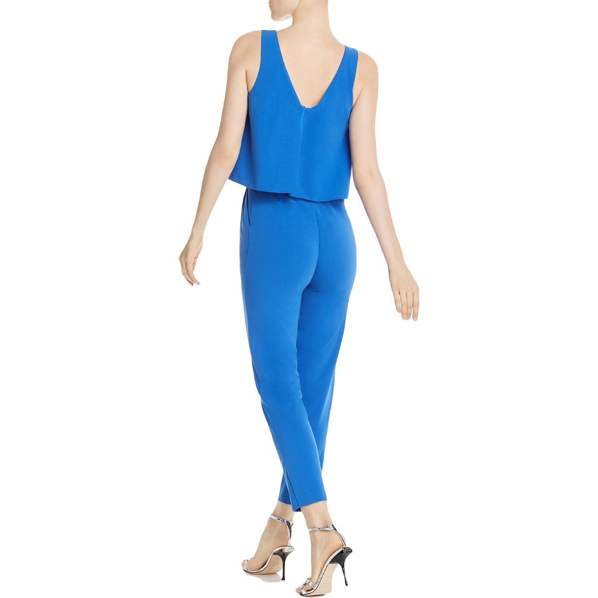 miniatuur 6 - Aqua Womens Cora Popover Straight Leg Dressy Jumpsuit BHFO 7046