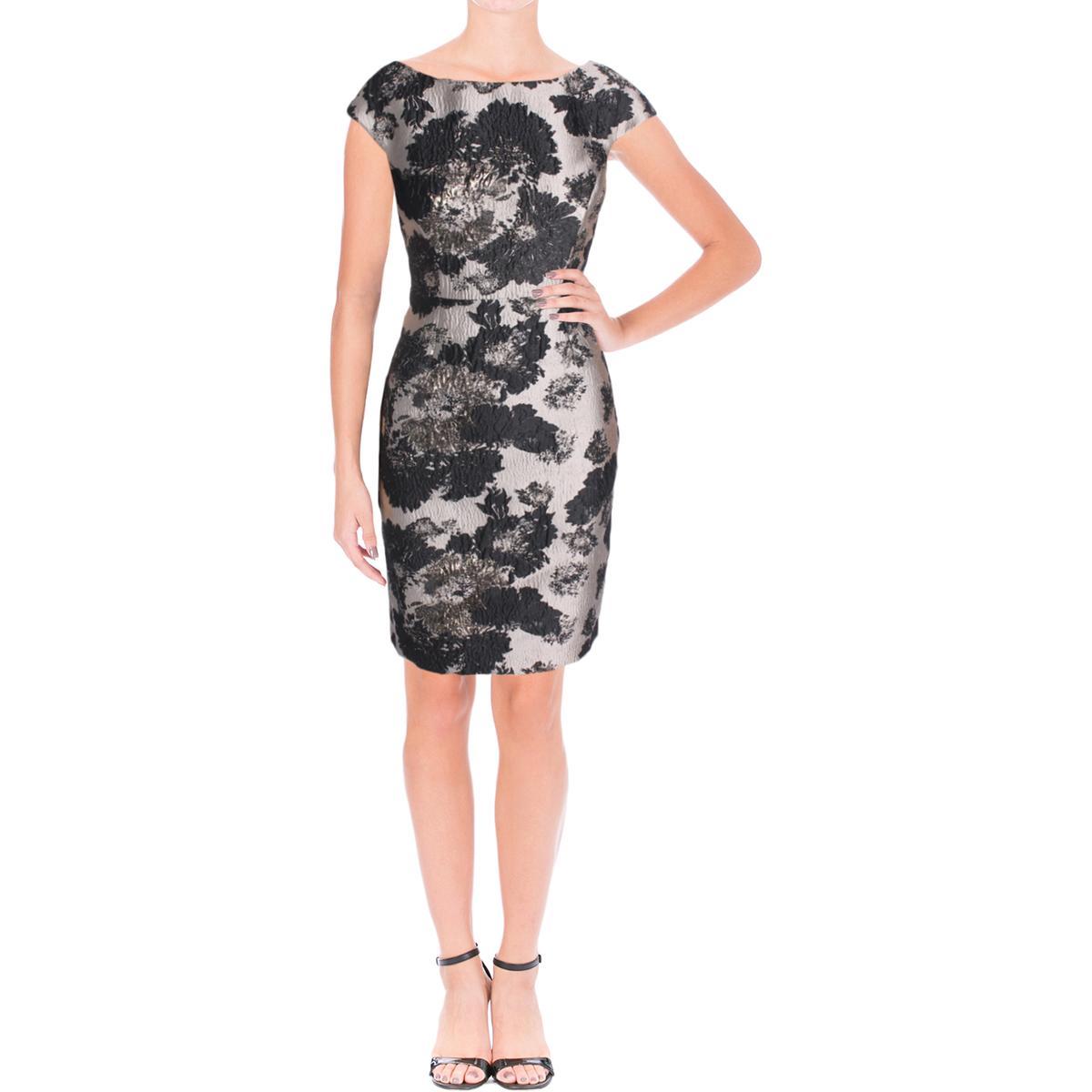 Vera Wang 7759 Womens Silver Jacquard Metallic Party Cocktail Dress ...