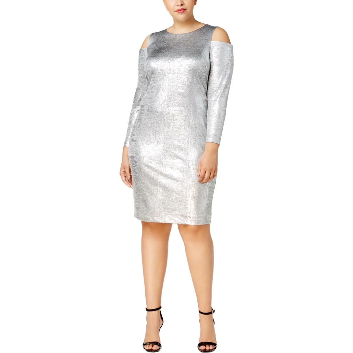 952ccce98fc Details about Calvin Klein Womens Cold Shoulder Metallic Cocktail Party  Dress Plus BHFO 3462
