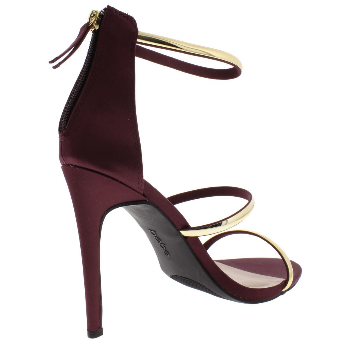 Bebe-Womens-Berdine-Strappy-Textured-Ankle-Strap-Dress-Sandals-Heels-BHFO-6118 thumbnail 8