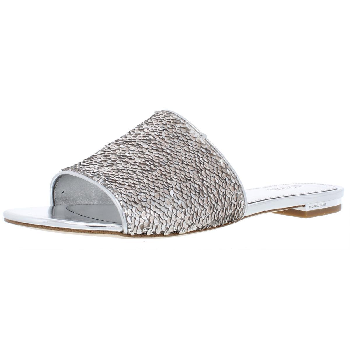 ce2060b35040 Details about MICHAEL Michael Kors Womens Shelly Metallic Flats Slide  Sandals Shoes BHFO 9412