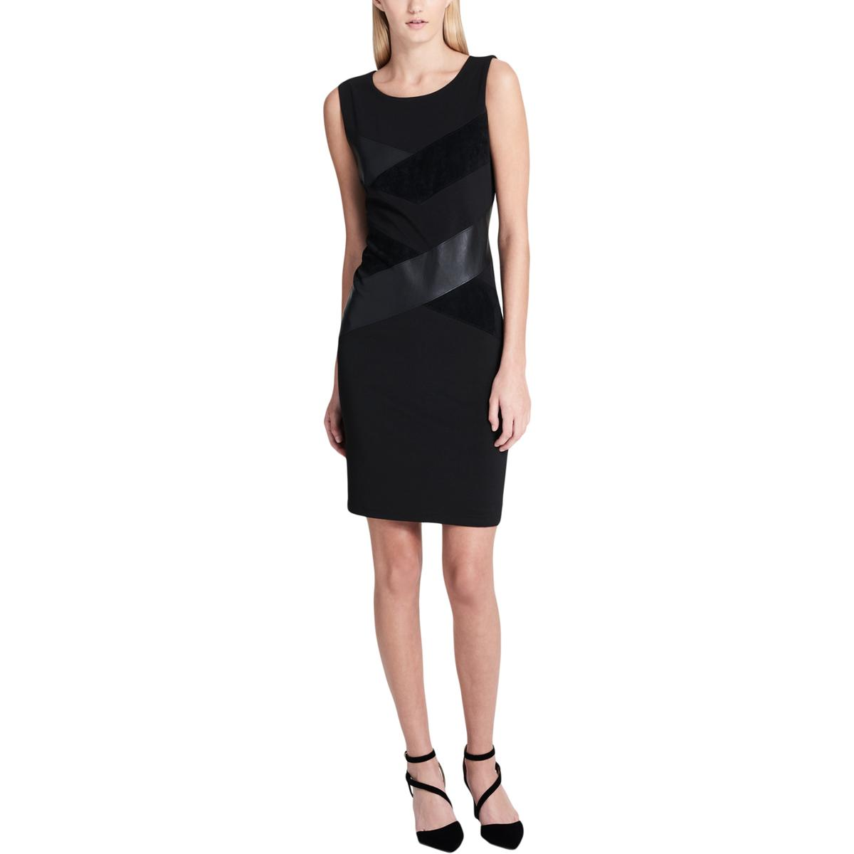 485e88f3331 Details about Calvin Klein Womens Black Faux Leather   Suede Mini Dress 16  BHFO 7425