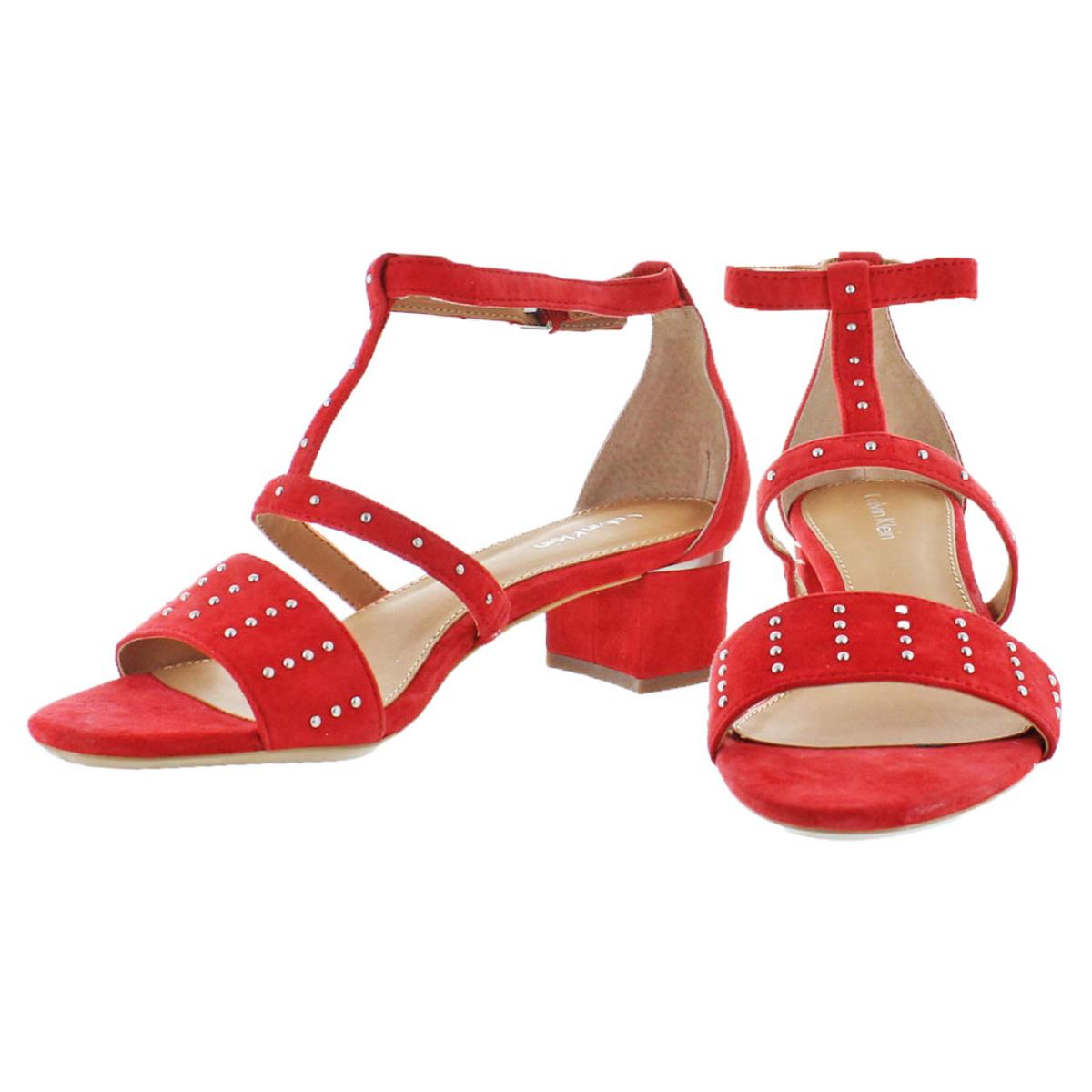 Calvin-Klein-Divina-Women-039-s-Open-Toe-Studded-Block-Heel-Shoes thumbnail 4