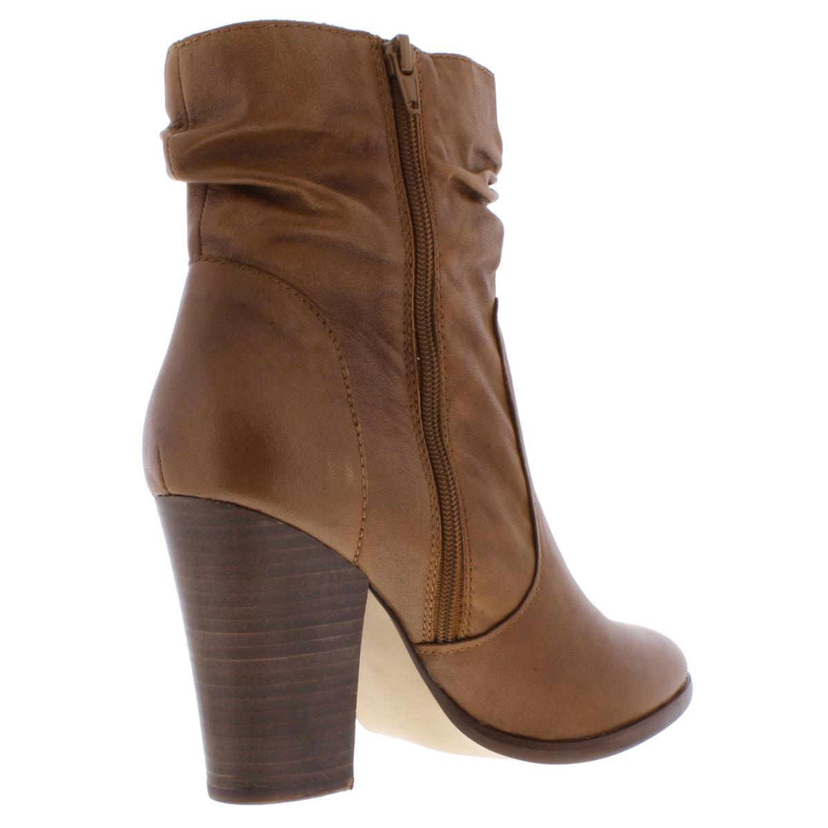Steve Madden Womens Hunk Leather Slouchy Stacked Heel Booties Shoes BHFO 9980
