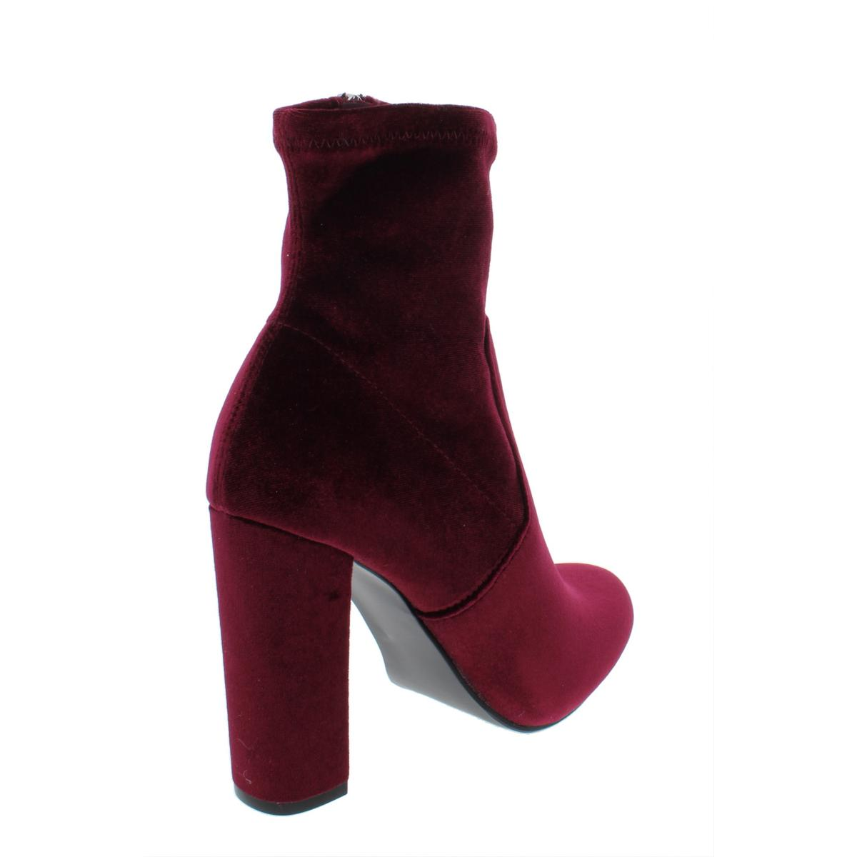 6dccec62a4dc Details about Steve Madden Womens Edit Red Velvet Ankle Boots Shoes 7  Medium (B