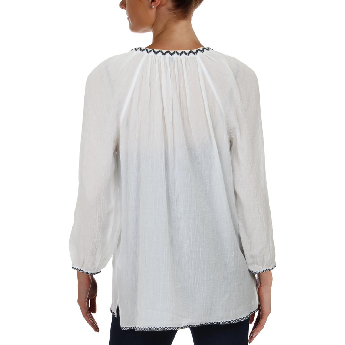 3a76b120aaca5a NYDJ Womens White Embroidered Keyhole Pleated Peasant Top Blouse XS ...
