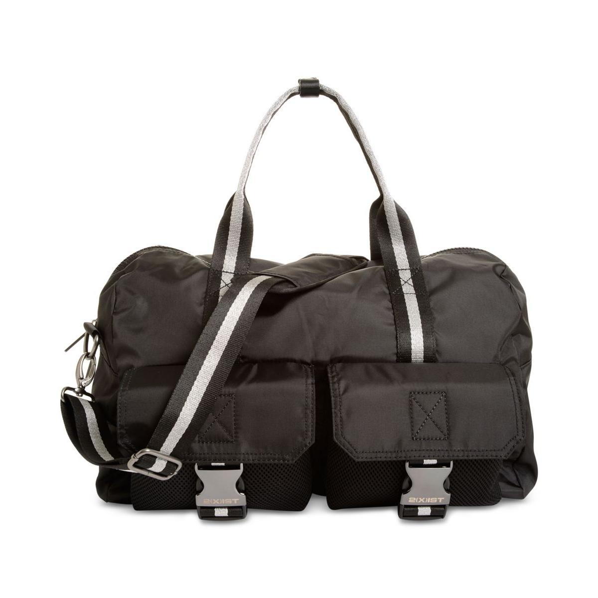 dfa0723da1 Details about 2(X)Ist Mens Black Metallic Convertible Dome Duffle Bag O S  BHFO 4584