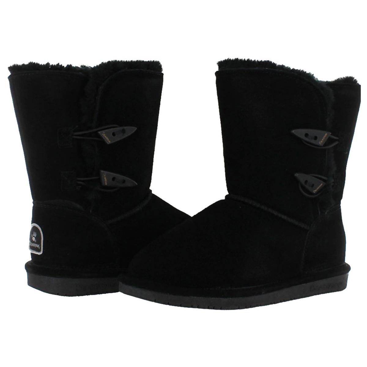 Bearpaw-Abigail-Women-039-s-Suede-Toggle-Sheepskin-Winter-Boots