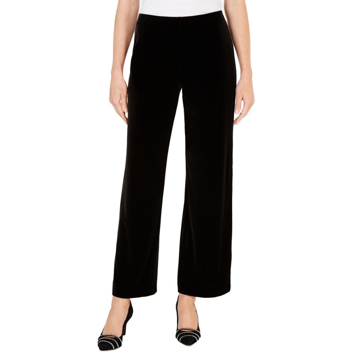 Alfani Womens Black Velvet Ombre Night Out Wide Leg Pants Plus 1X BHFO 1071