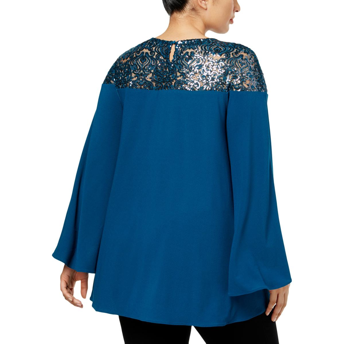 87e89d76a116b Alfani Womens Blue Sequined Bell Sleeves Night out Blouse Top Plus ...