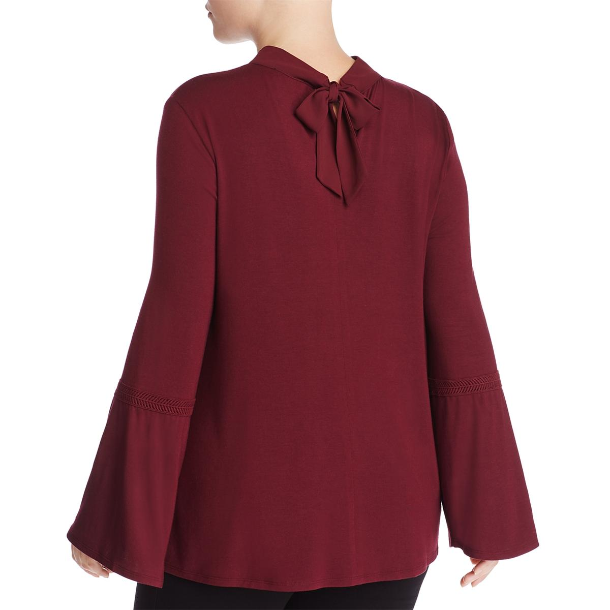 a955fc5bf56b1 Lysse Womens Ainsley Red Embroidered Keyhole Casual Top Blouse Plus ...