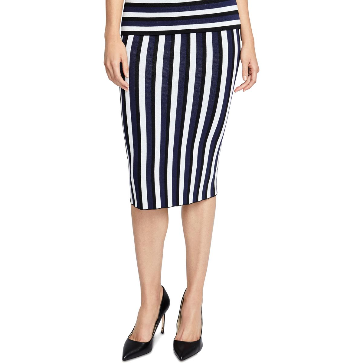 RACHEL Rachel Roy Women/'s Stretch Striped Pencil Skirt Medium M Black Gold $89