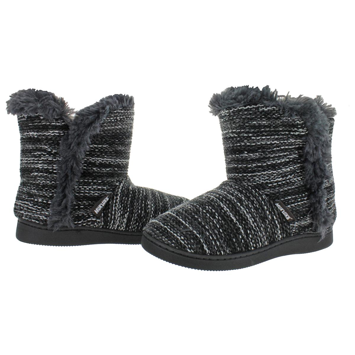 Muk-Luks-Cheyenne-Women-039-s-Short-Knit-Sweater-Bootie-Slippers-House-Shoes thumbnail 3