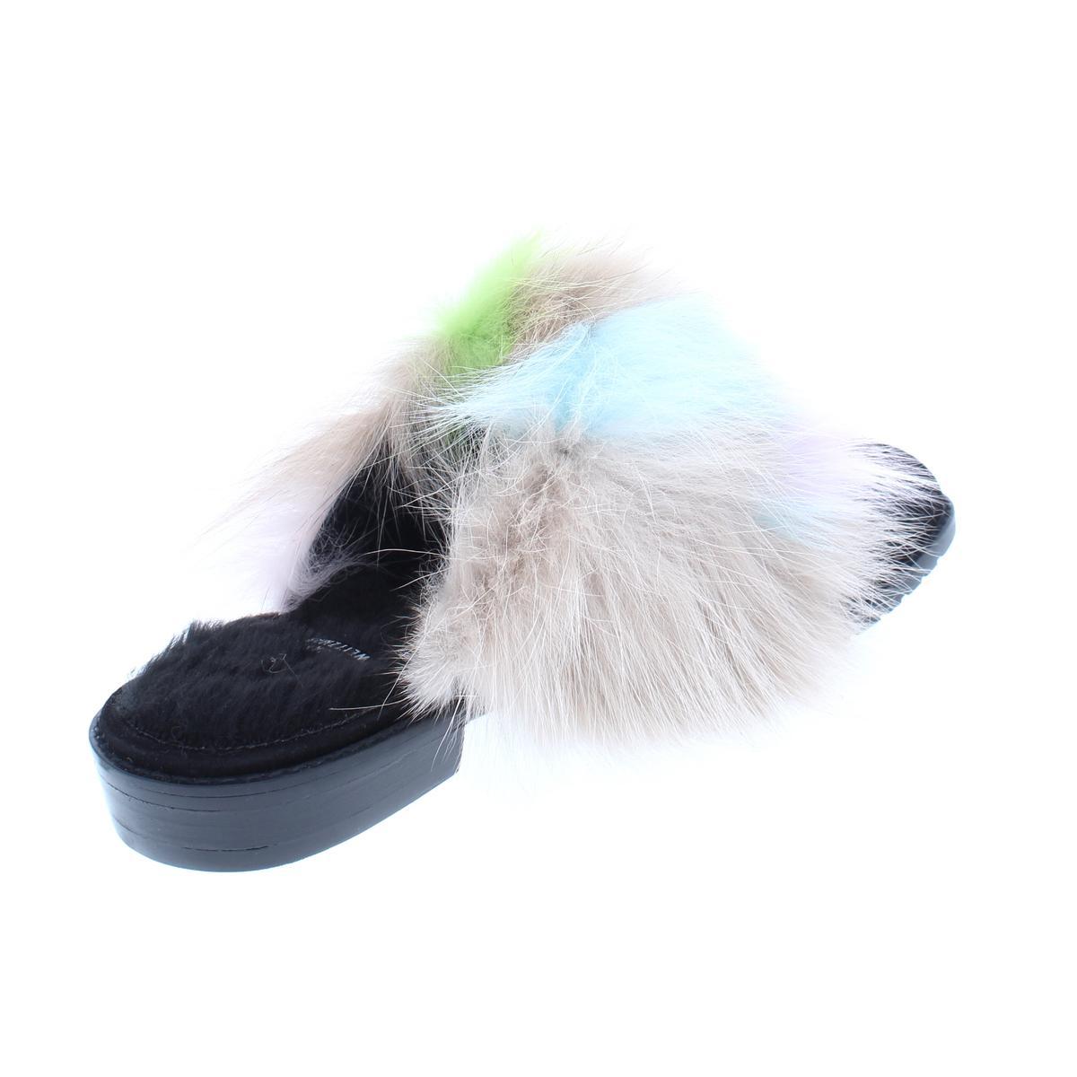 Stuart-Weitzman-Womens-Furgetit-Suede-Fox-Fur-Slide-Mules-Shoes-BHFO-8240 thumbnail 9
