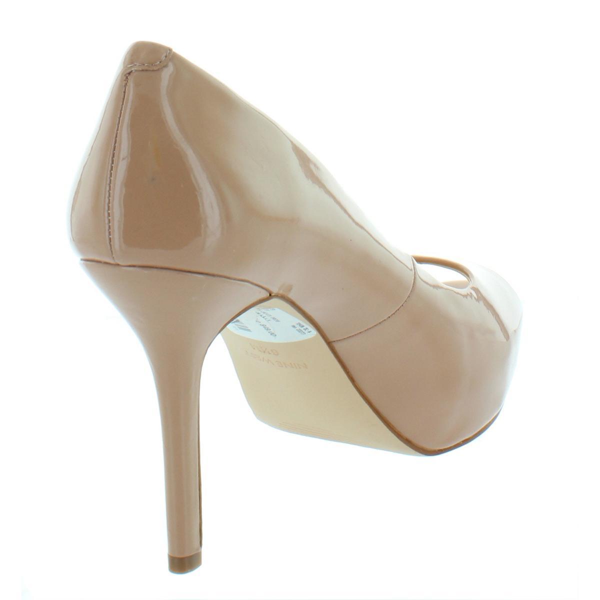 83a34a162788 Nine West Womens Qtpie Beige Patent Peep Toe Pumps 6.5 Medium (B