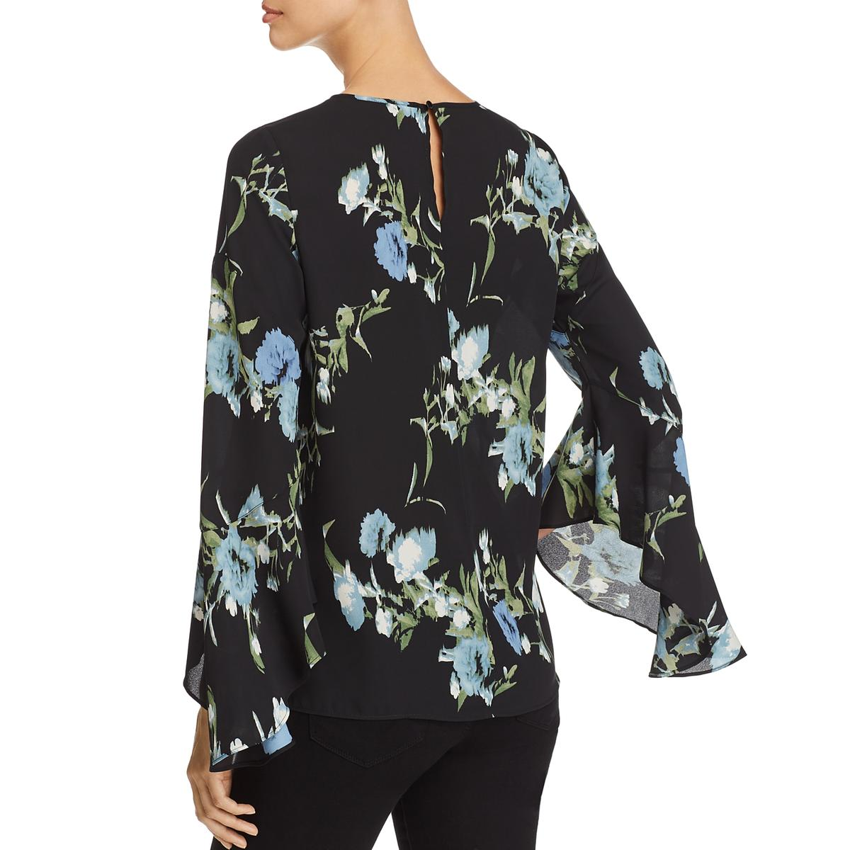 2b2f346fc6f7 Vince Camuto Womens Black Floral Print Bell Sleeves Blouse Top XS ...