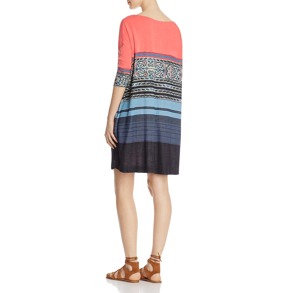 Free People Womens Printed Colorblock Boatneck T Shirt Dress Bhfo