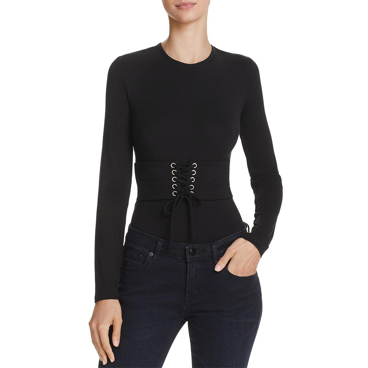 91885422 Bardot Womens Belinda Black Corset Jewel Neckline Bodysuit Top S ...