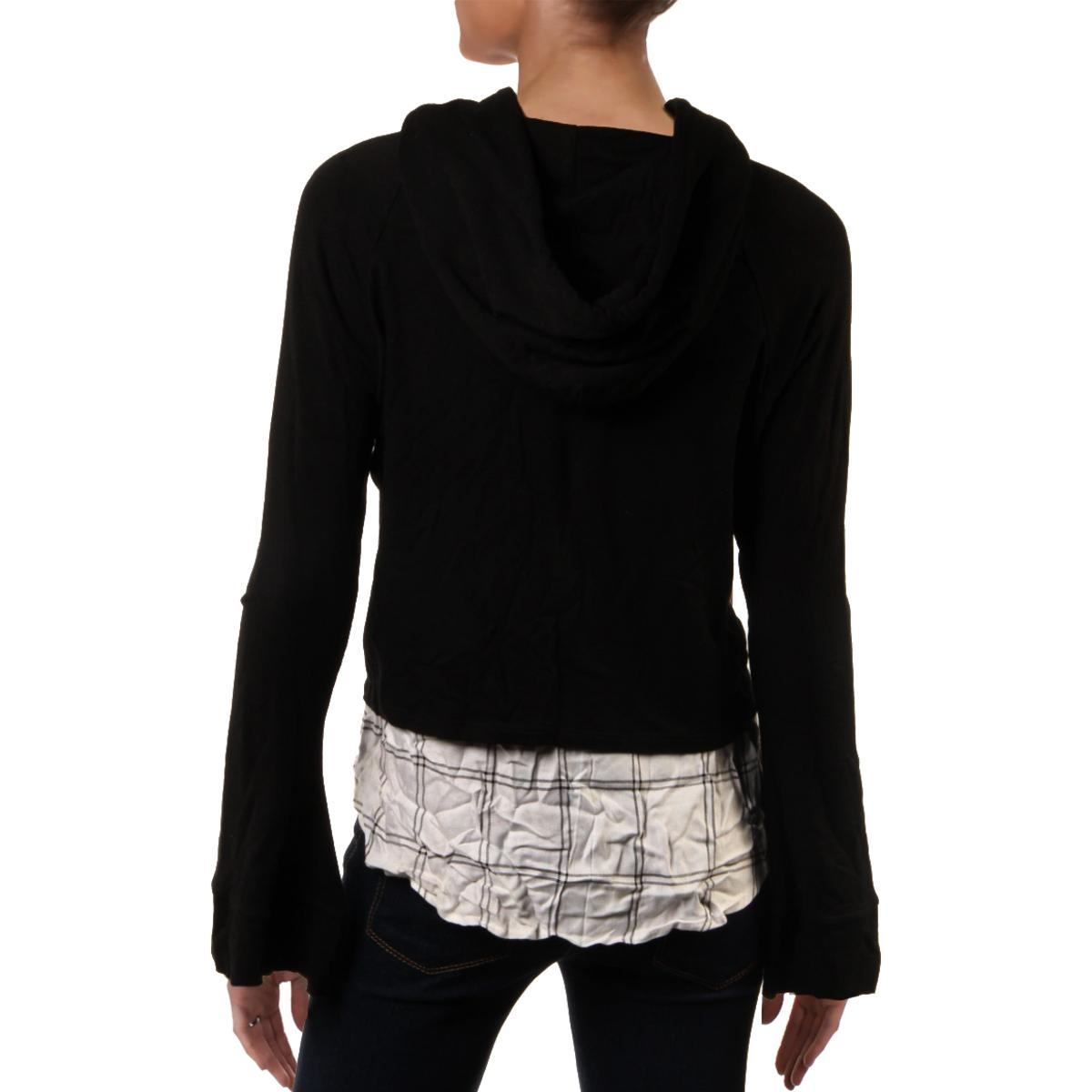 Generation Love Womens Knit Layered Long Sleeves Hoodie Top BHFO 4892