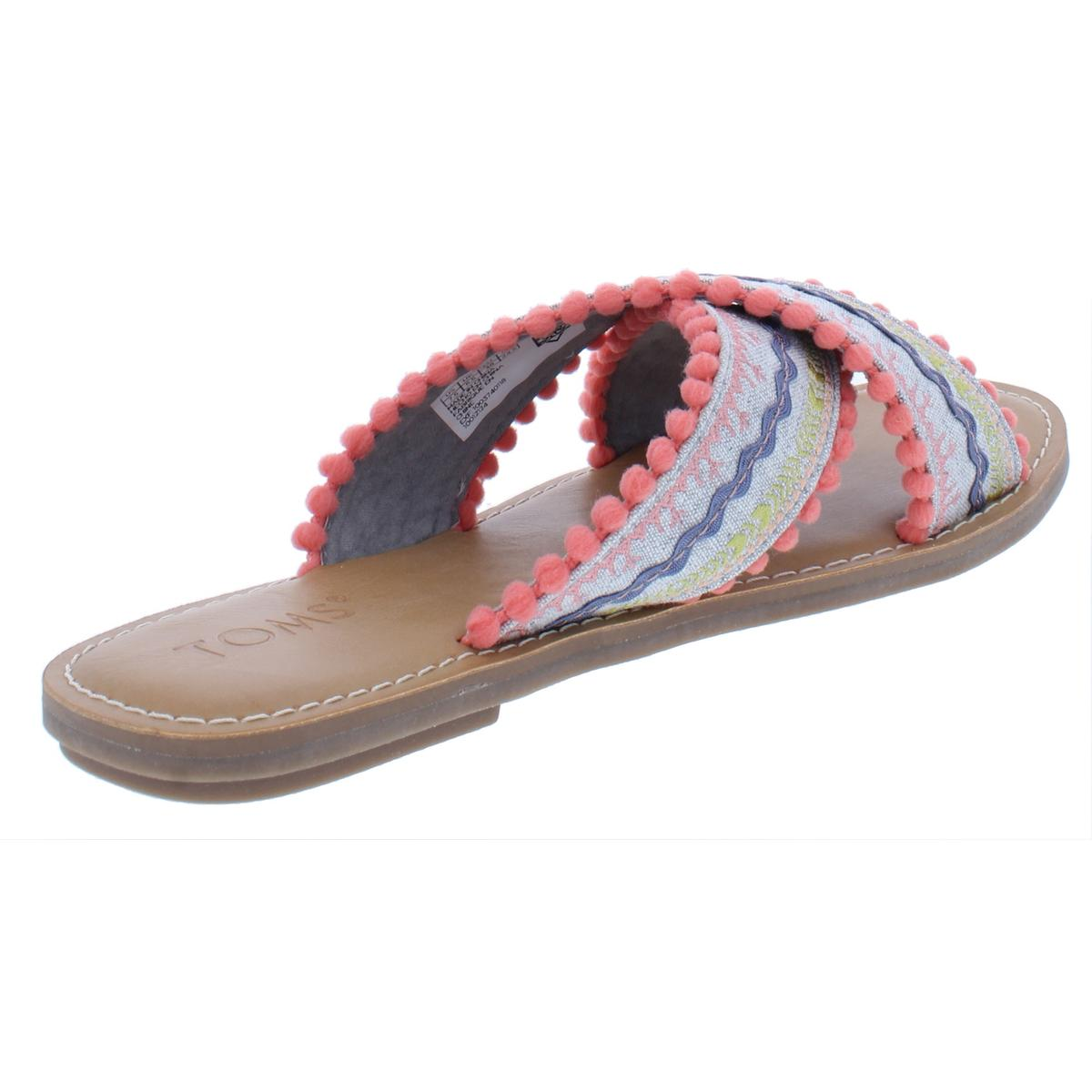 a82c8941cecf23 Toms Womens Viv Crossover Poms Casual Flat Sandals Shoes BHFO 7954 ...