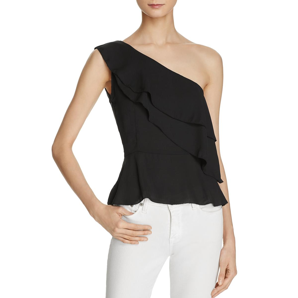 0eb73b998c66f4 Details about Olivaceous Womens One Shoulder Sleeveless Tiered Casual Top  Blouse BHFO 2659