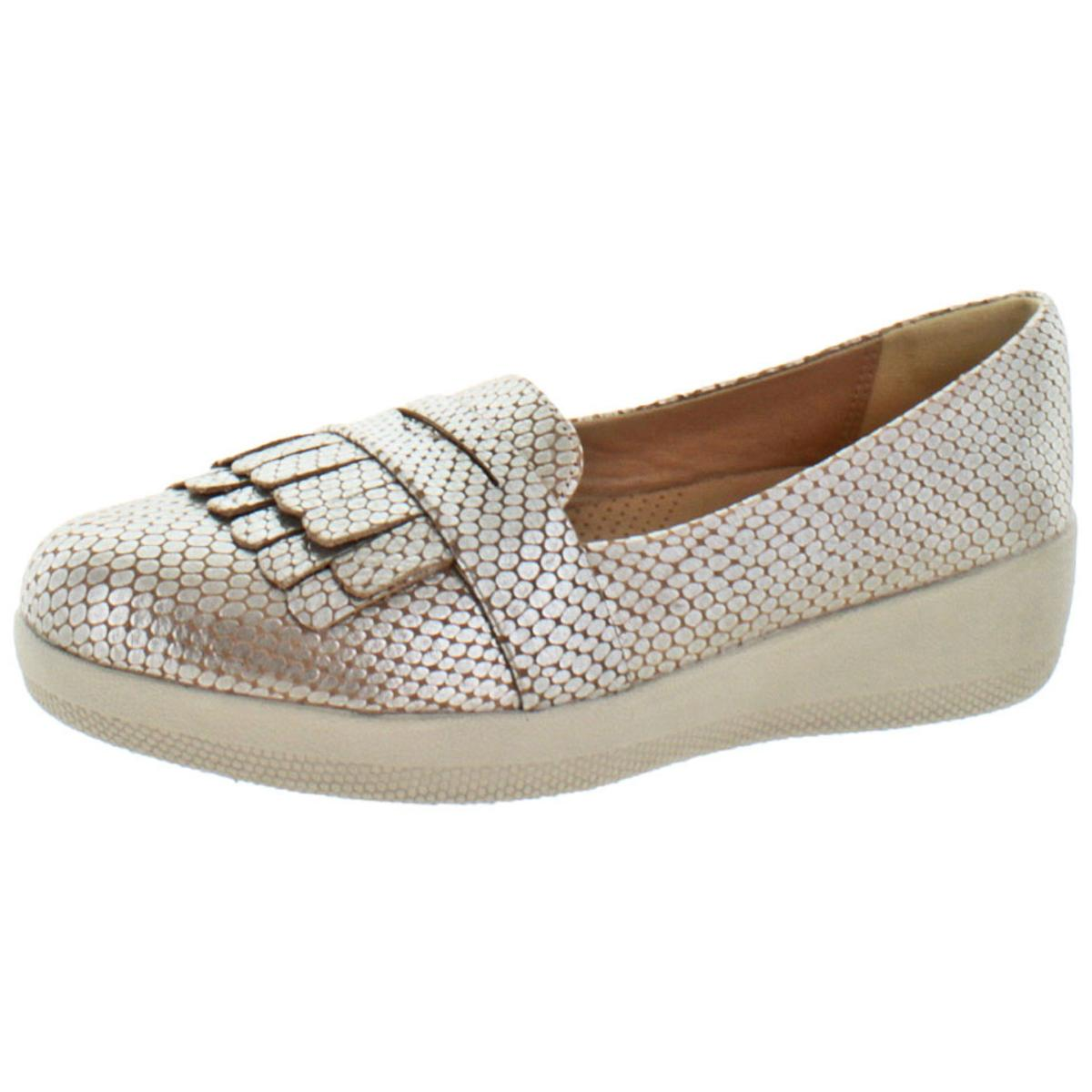 3b61713c248 FitFlop Womens Fringey Sneakerloafer Slip on Shoes Silver Snake US 8 ...