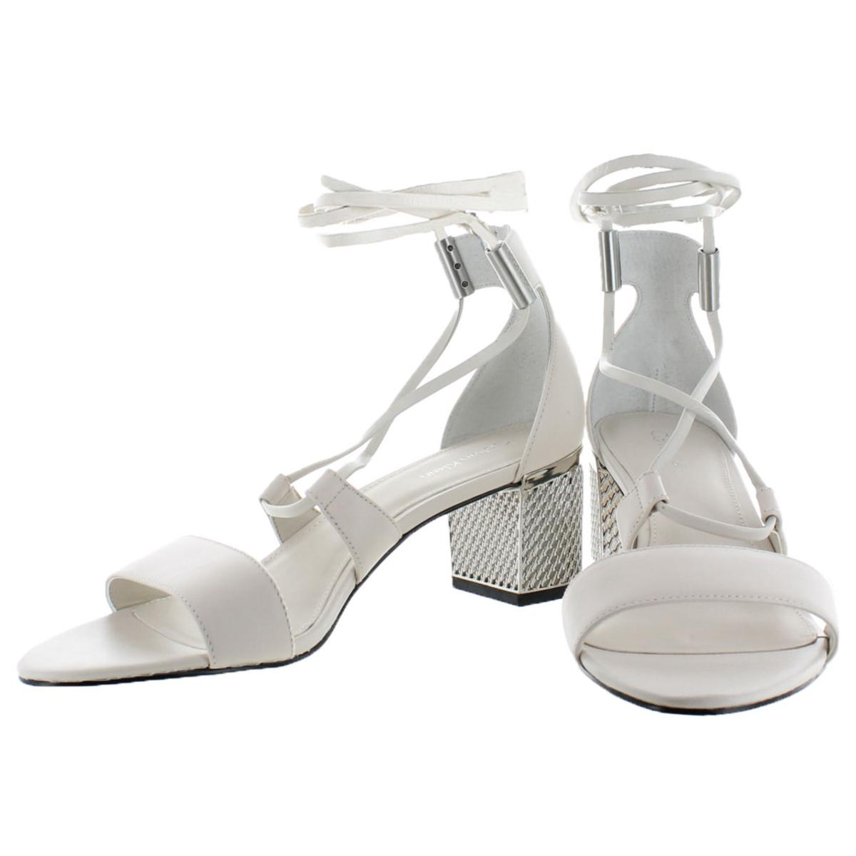 Calvin-Klein-Natania-Women-039-s-Leather-Open-Toe-Lace-Up-Block-Heel-Shoe thumbnail 8