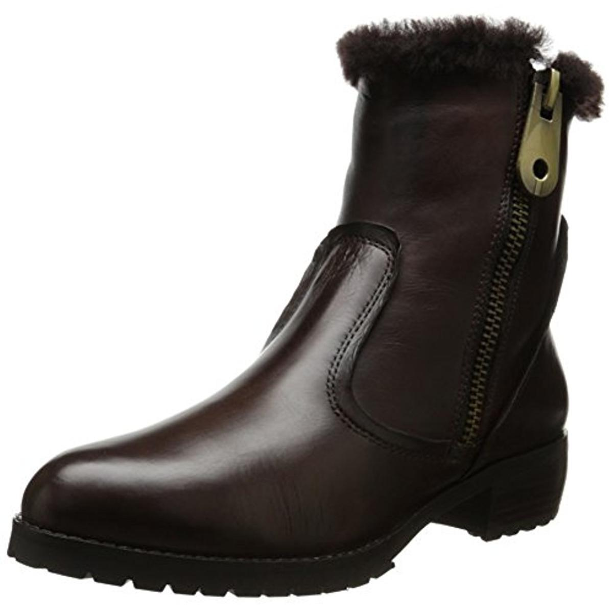 Everybody 1585 Womens Polaris Leather Faux Fur Trim Ankle